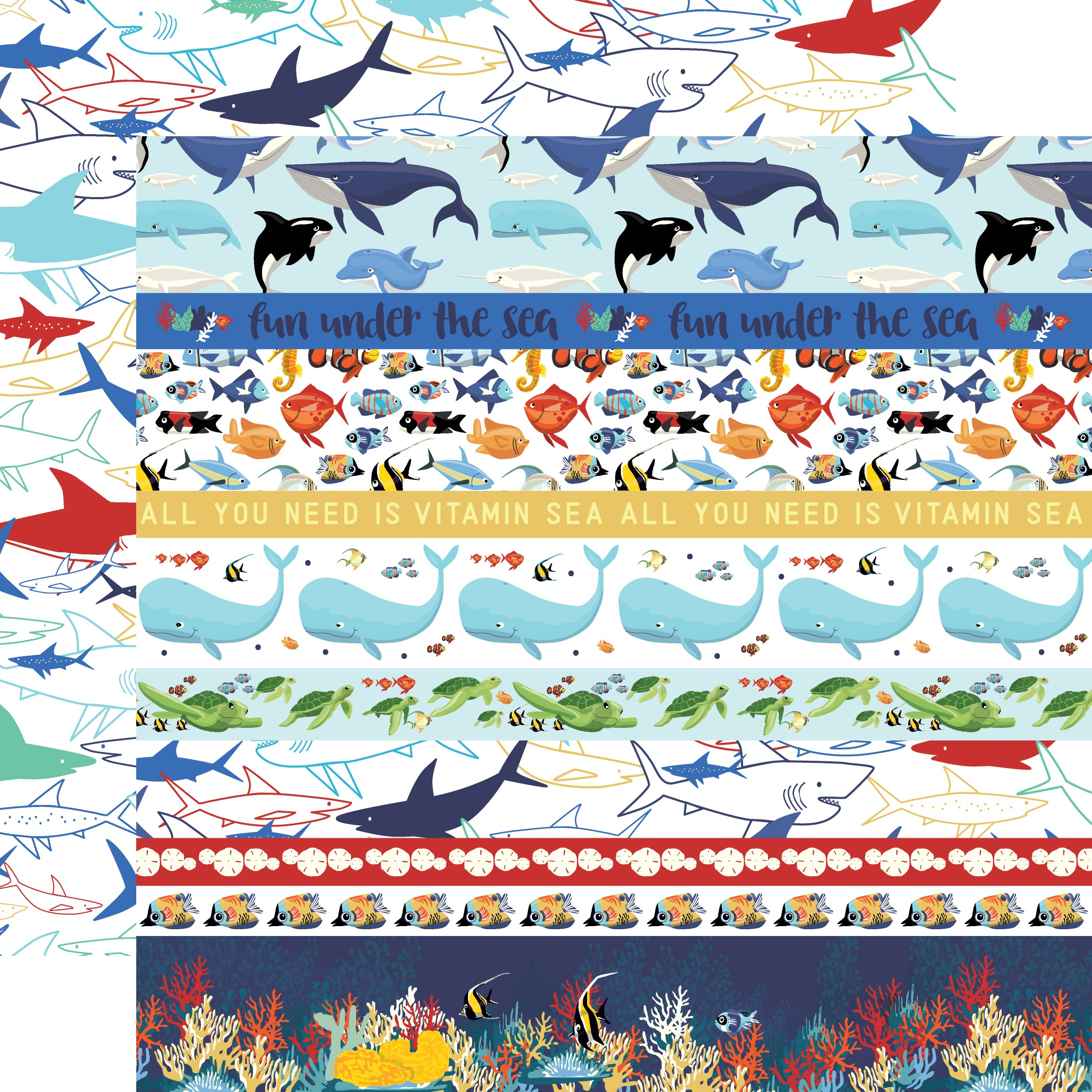 Fish Are Friends Double-Sided Cardstock 12X12-Border Strips