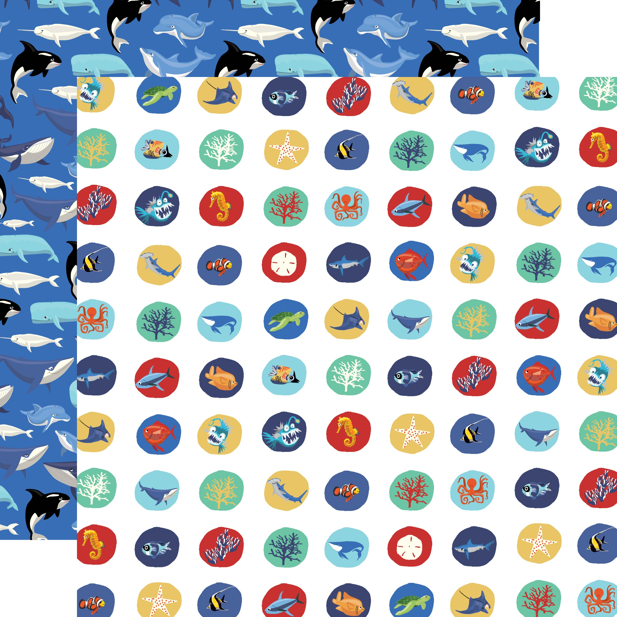 Fish Are Friends Double-Sided Cardstock 12X12-Deep Sea Circles