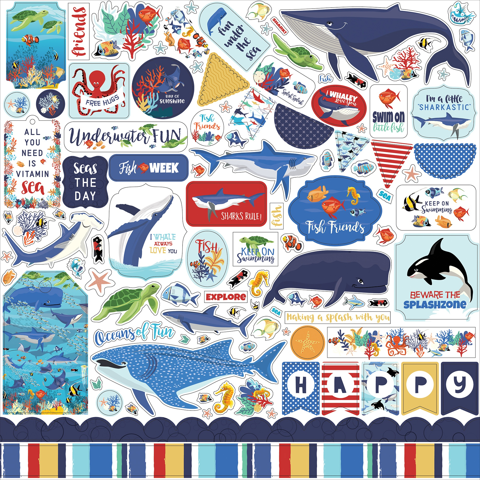 Fish Are Friends Cardstock Stickers 12X12-Elements