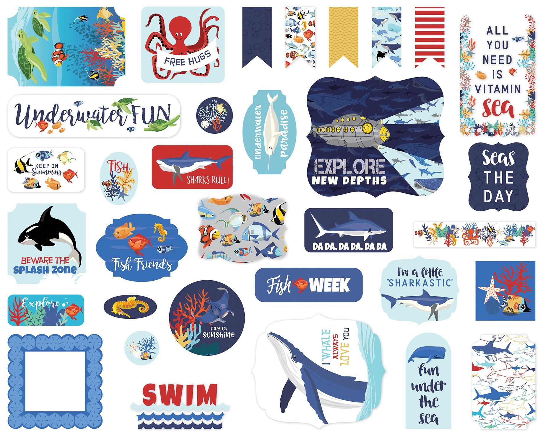 Carta Bella Cardstock Ephemera 33/Pkg-Icons, Fish Are Friends