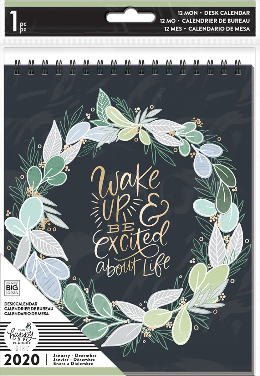 Happy Planner Dated Spiral Desk Calendar 6X8-Homebody, Jan - Dec 2020