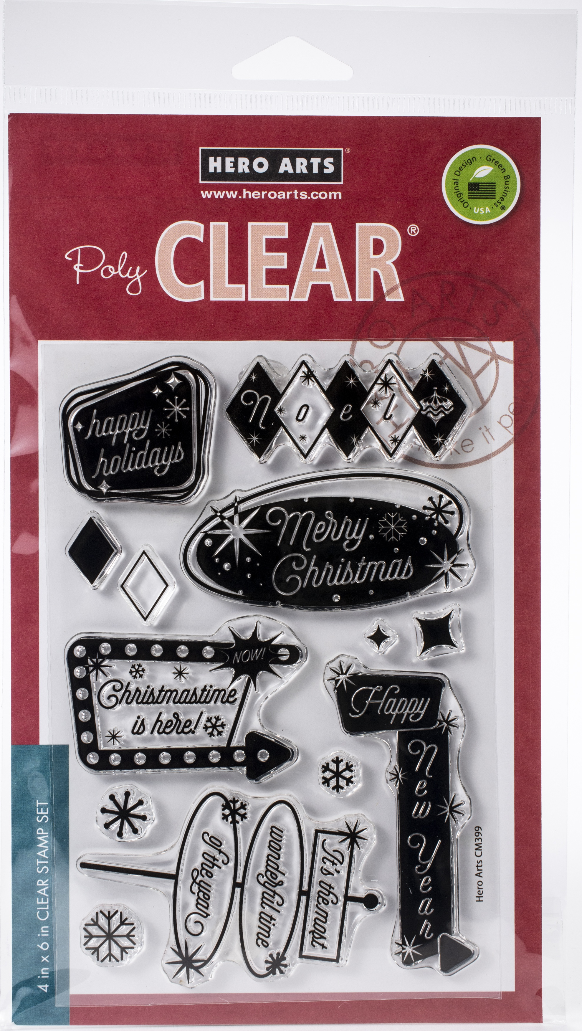 Hero Arts Clear Stamp and Die - Retro Christmas Messages