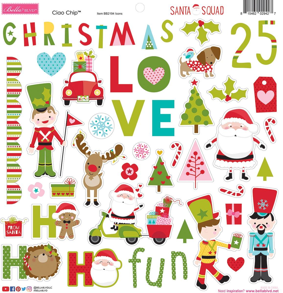 Santa Squad Chipboard Stickers 12X12 Icons