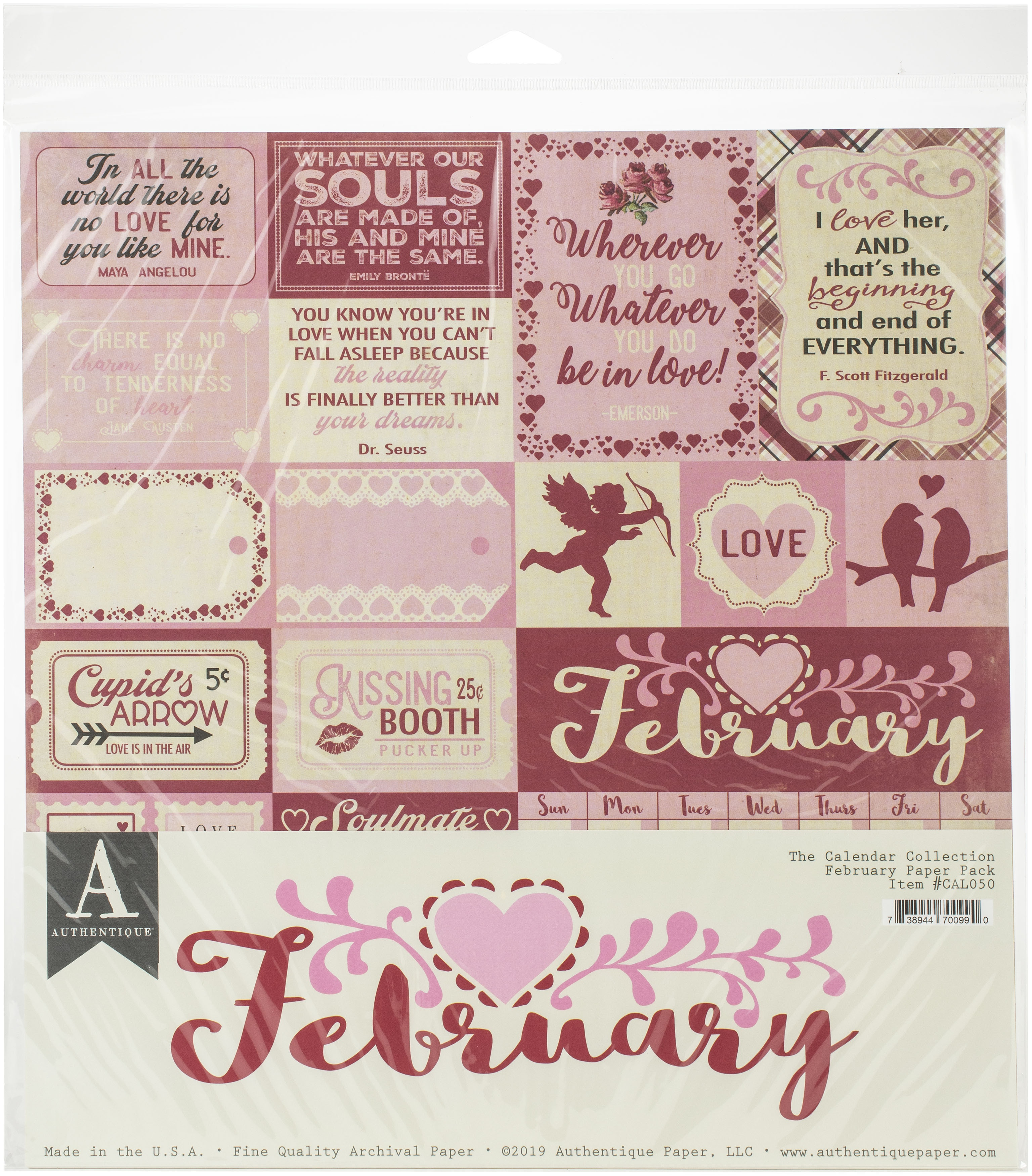 Authentique Double-Sided Cardstock Pack 12X12 11/Pkg-February, 3 Designs/3 Eac...