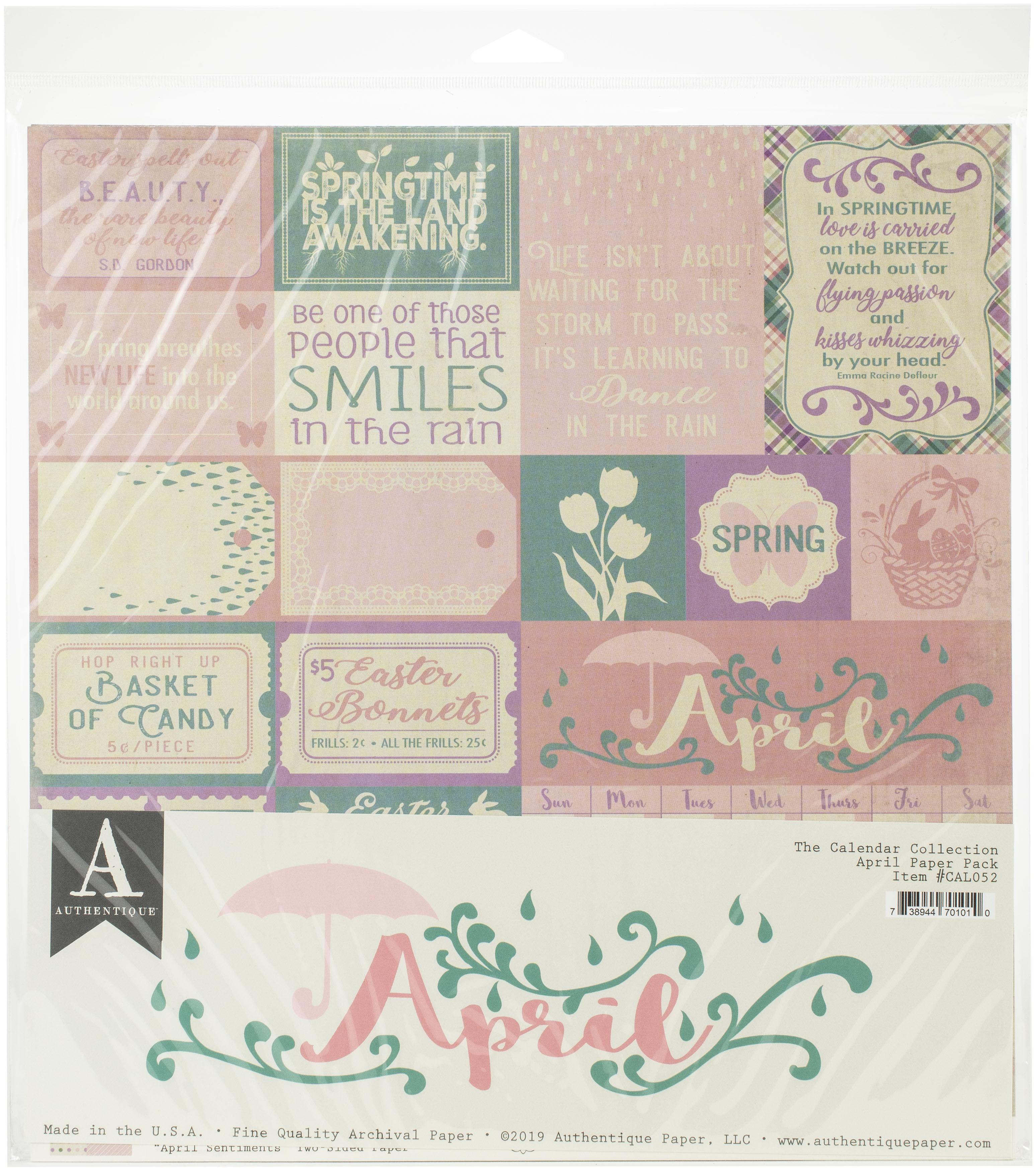Authentique Double-Sided Cardstock Pack 12X12 11/Pkg-April, 3 Designs/3 Each +...
