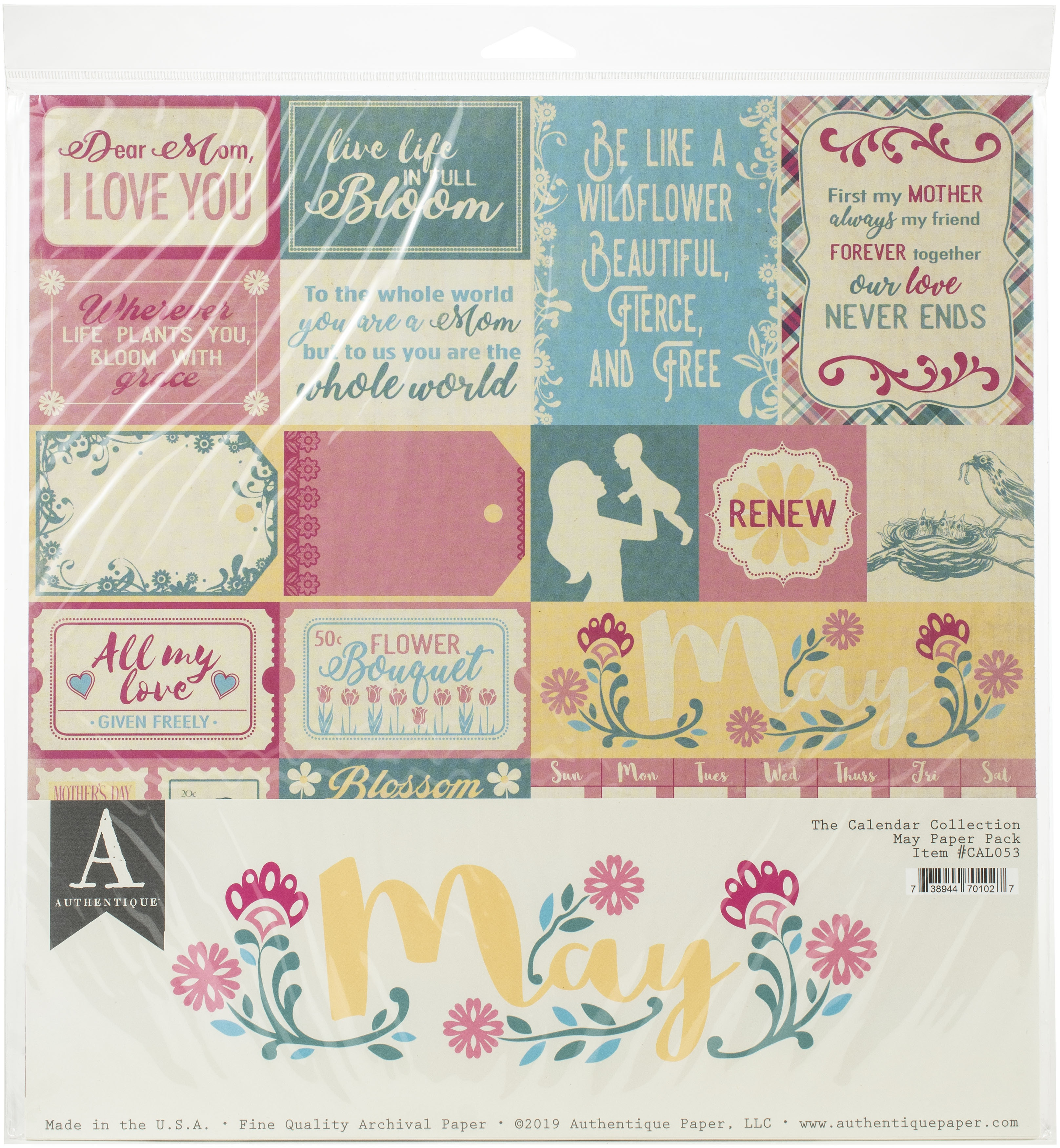 Authentique Double-Sided Cardstock Pack 12X12 11/Pkg-May, 3 Designs/3 Each + 2...