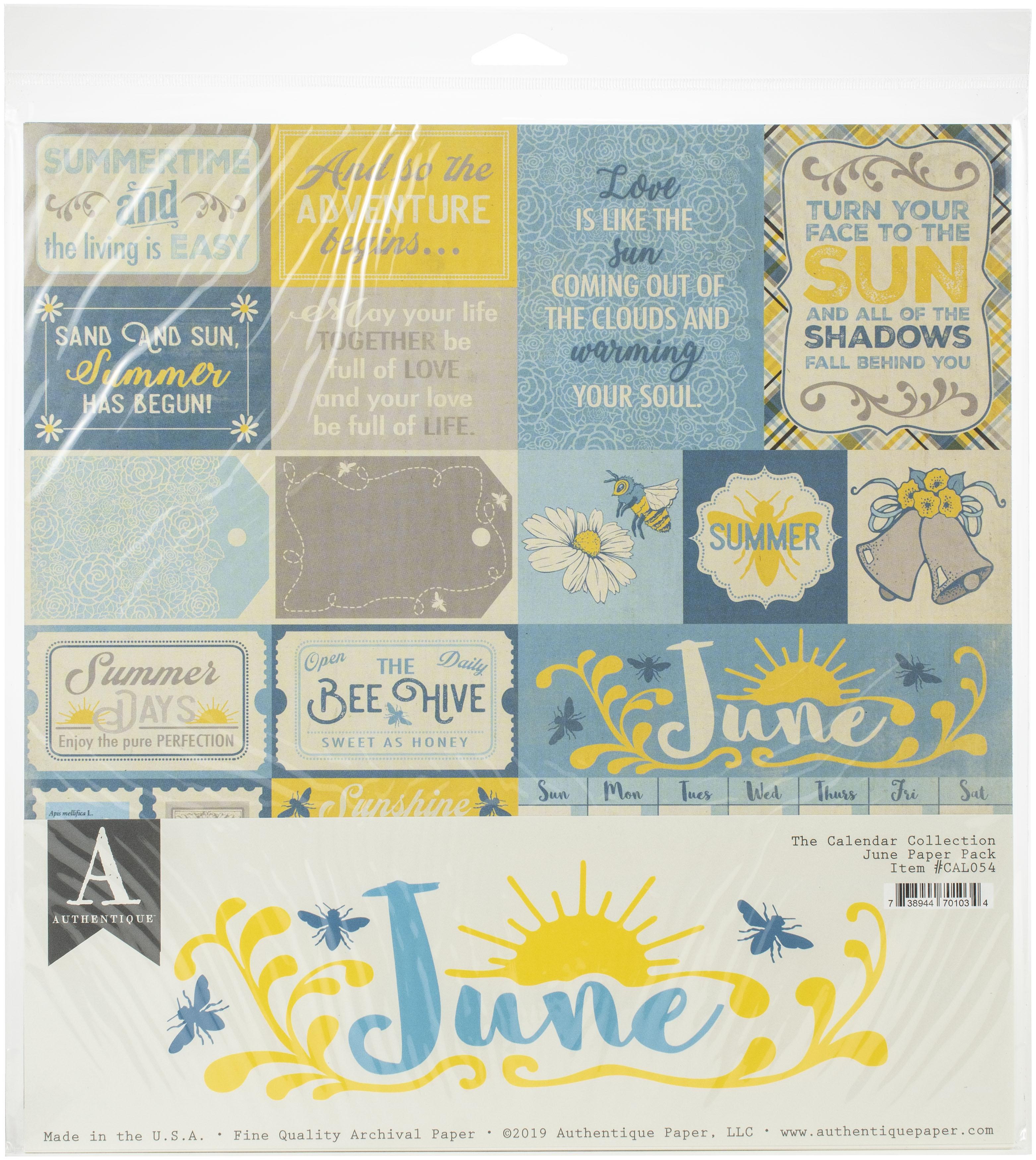 Authentique Double-Sided Cardstock Pack 12X12 11/Pkg-June, 3 Designs/3 Each + ...