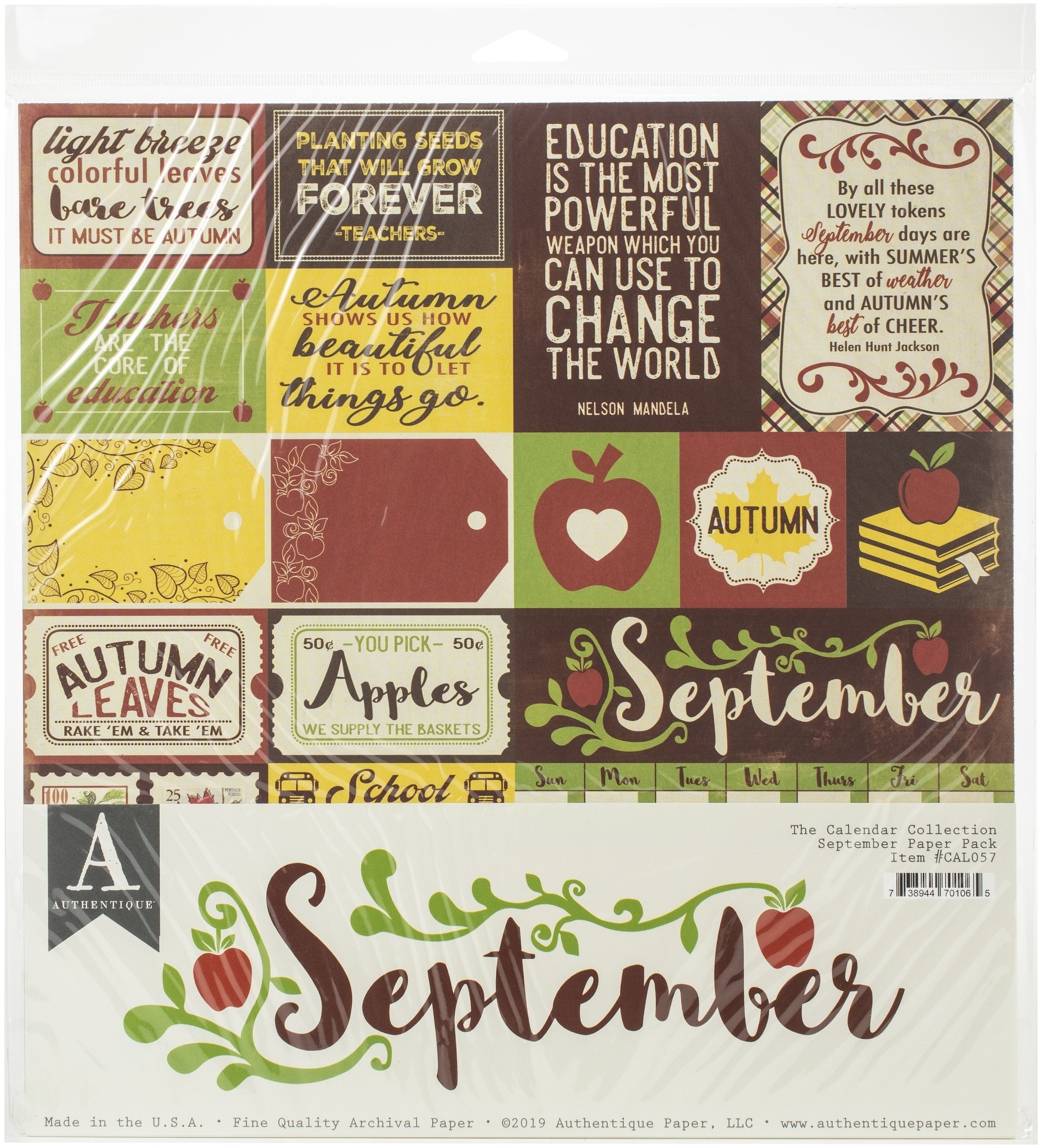 Authentique Double-Sided Cardstock Pack 12X12 11/Pkg-September, 3 Designs/3 Ea...