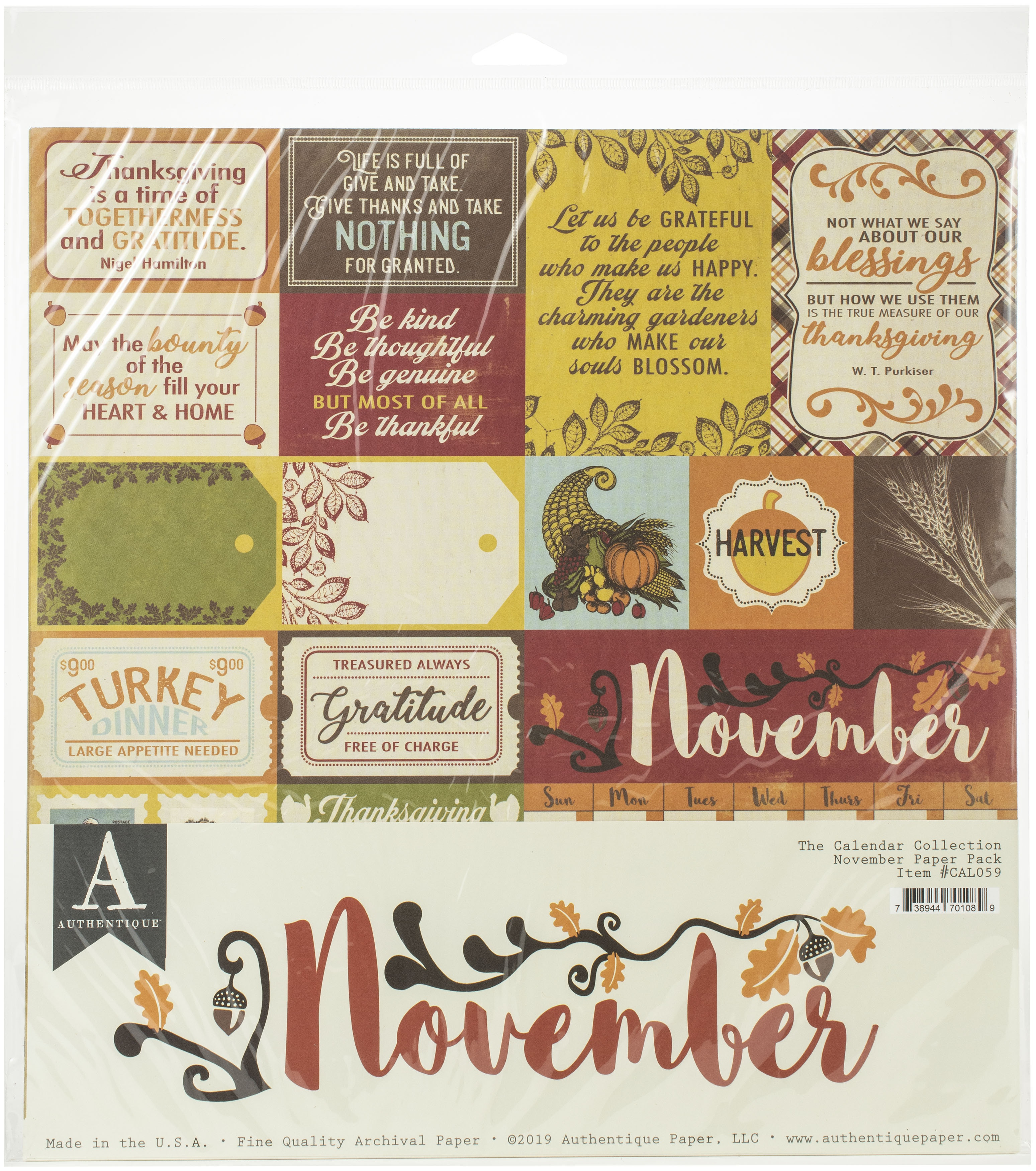 Authentique November Paper Pk
