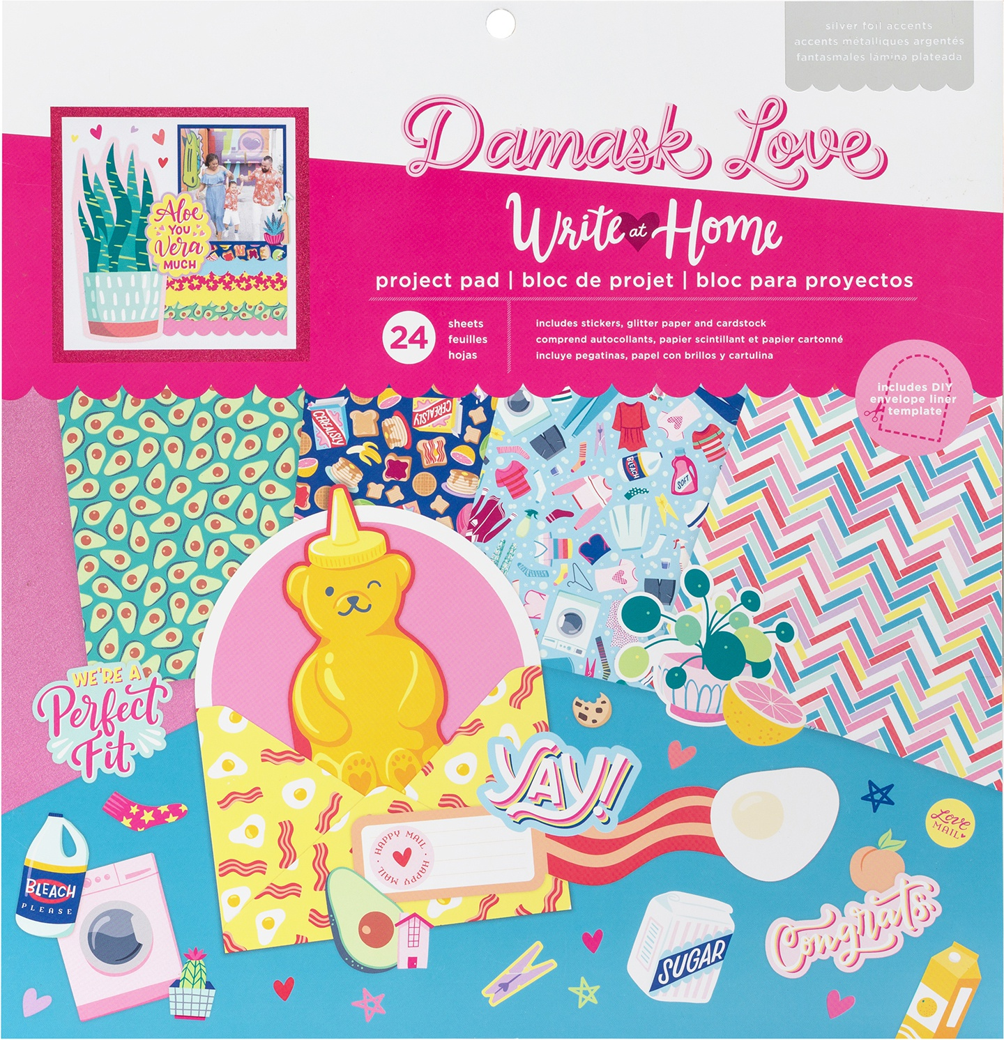 Damask Love Write At Home Project Pad 12X12 24/Pkg-