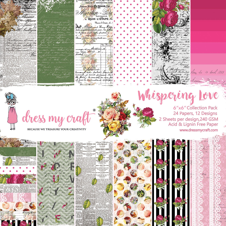 Dress My Craft Single-Sided Paper Pad 6X6 24/Pkg-Whispering Love, 12 Designs/2...