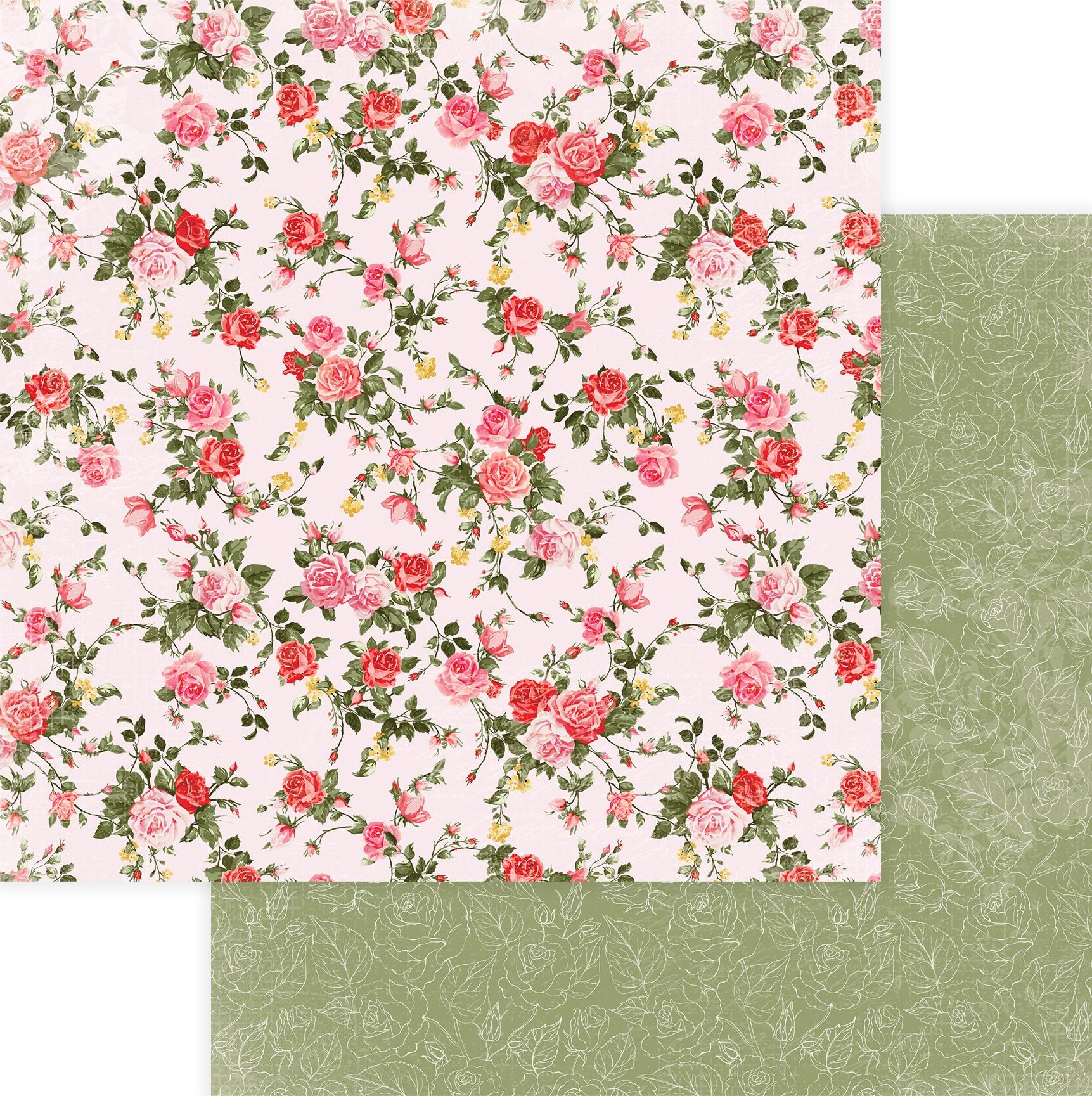 Be Mine Double-Sided Cardstock 12X12-Dozen Roses