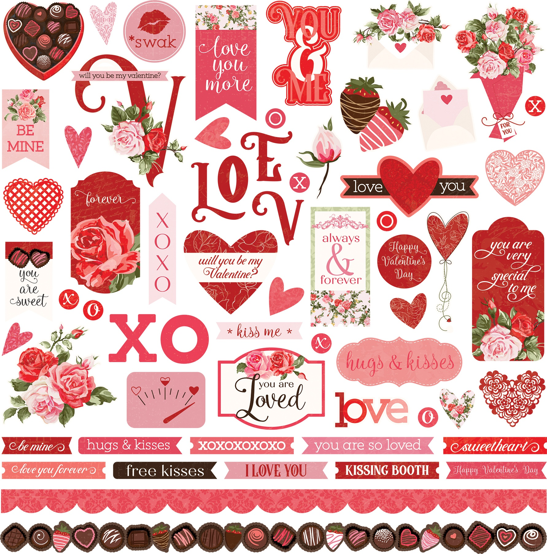 Be Mine Stickers 12X12-Elements