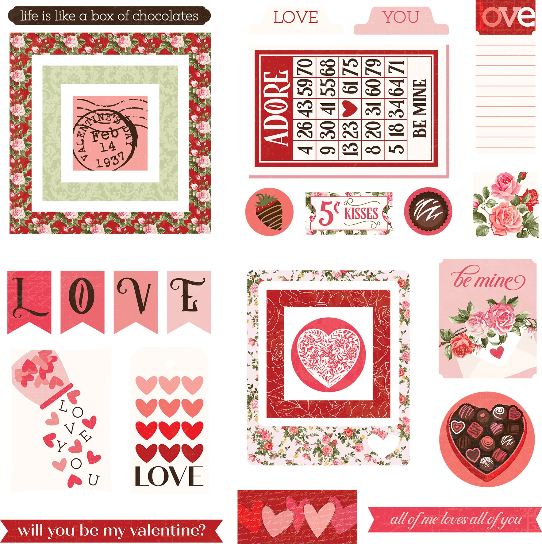 Be Mine Ephemera Cardstock Die-Cuts-