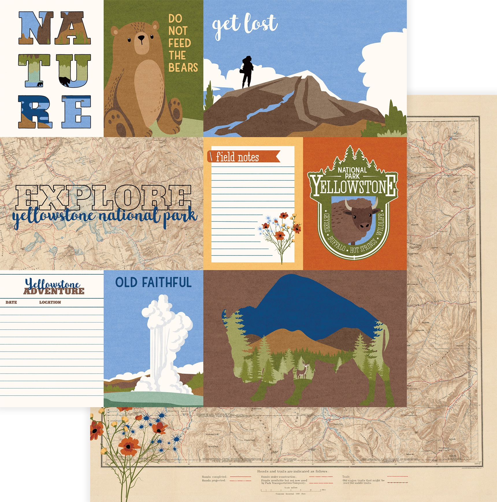 National Parks Yellowstone Double-Sided Cardstock 12X12-Old Faithful