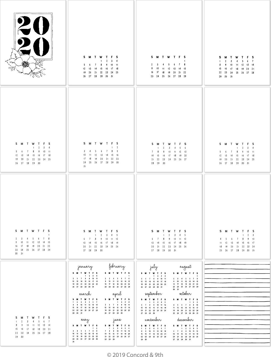 Concord & 9th 4.25X5.5 Calendar Cards 16/Pkg-2020