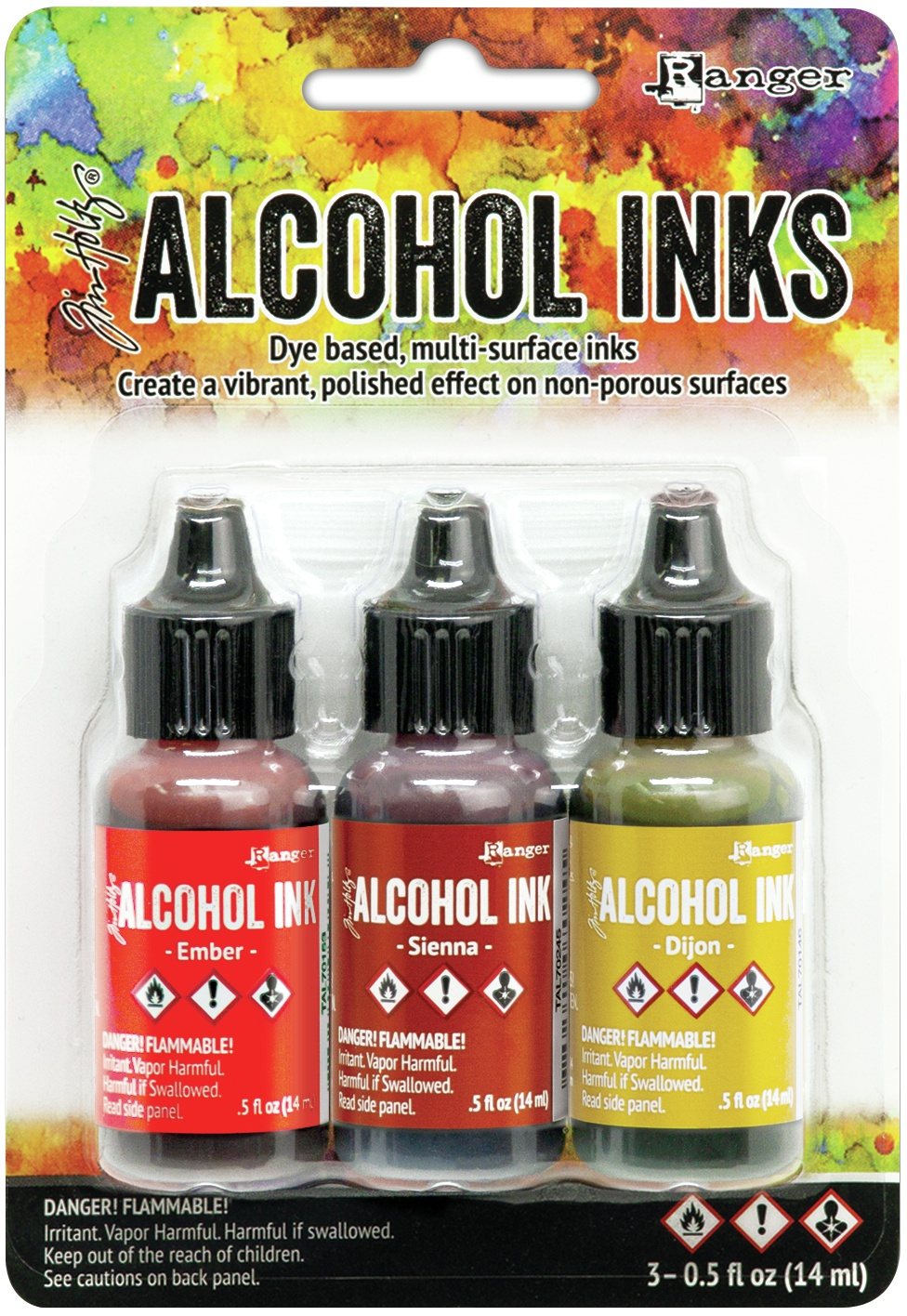Tim Holtz Alcohol Ink .5oz 3/Pkg-Orange/Yellow Spectrum