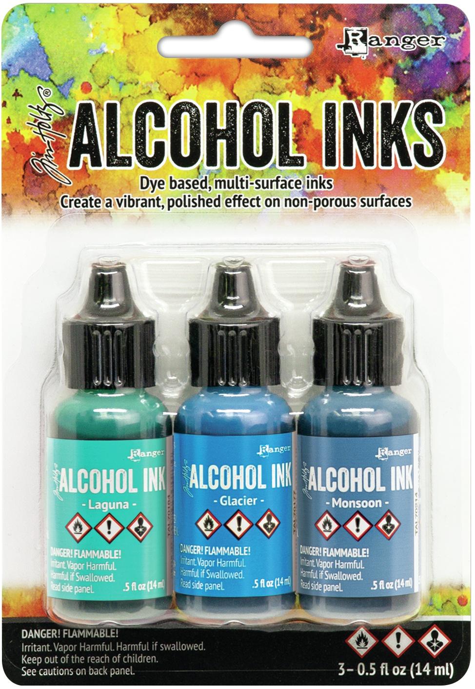 Tim Holtz Alcohol Ink .5oz 3/Pkg-Teal/Blue Spectrum