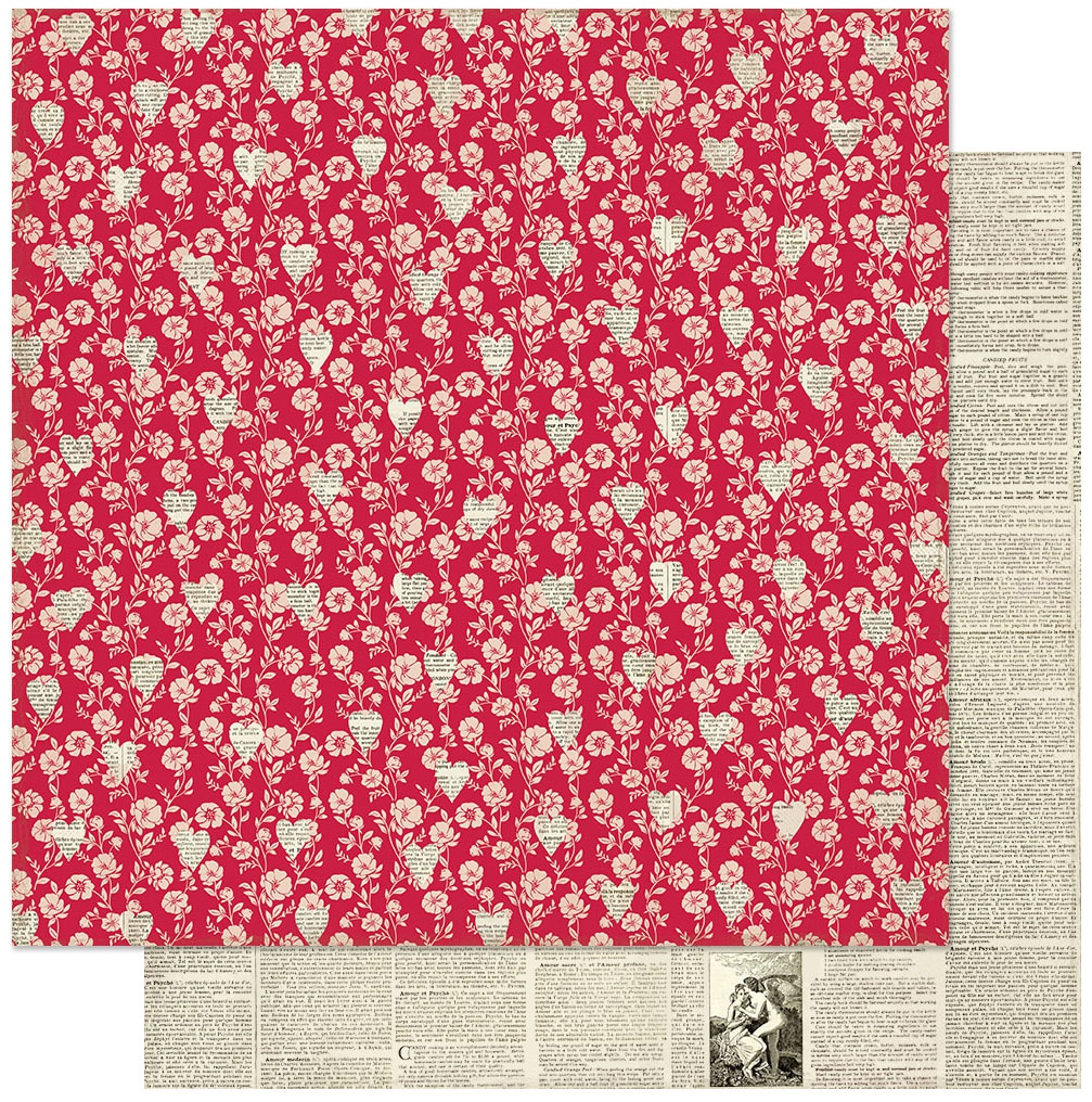 Love Notes Double-Sided Cardstock 12X12-#1 Red Floral W/Newsprint