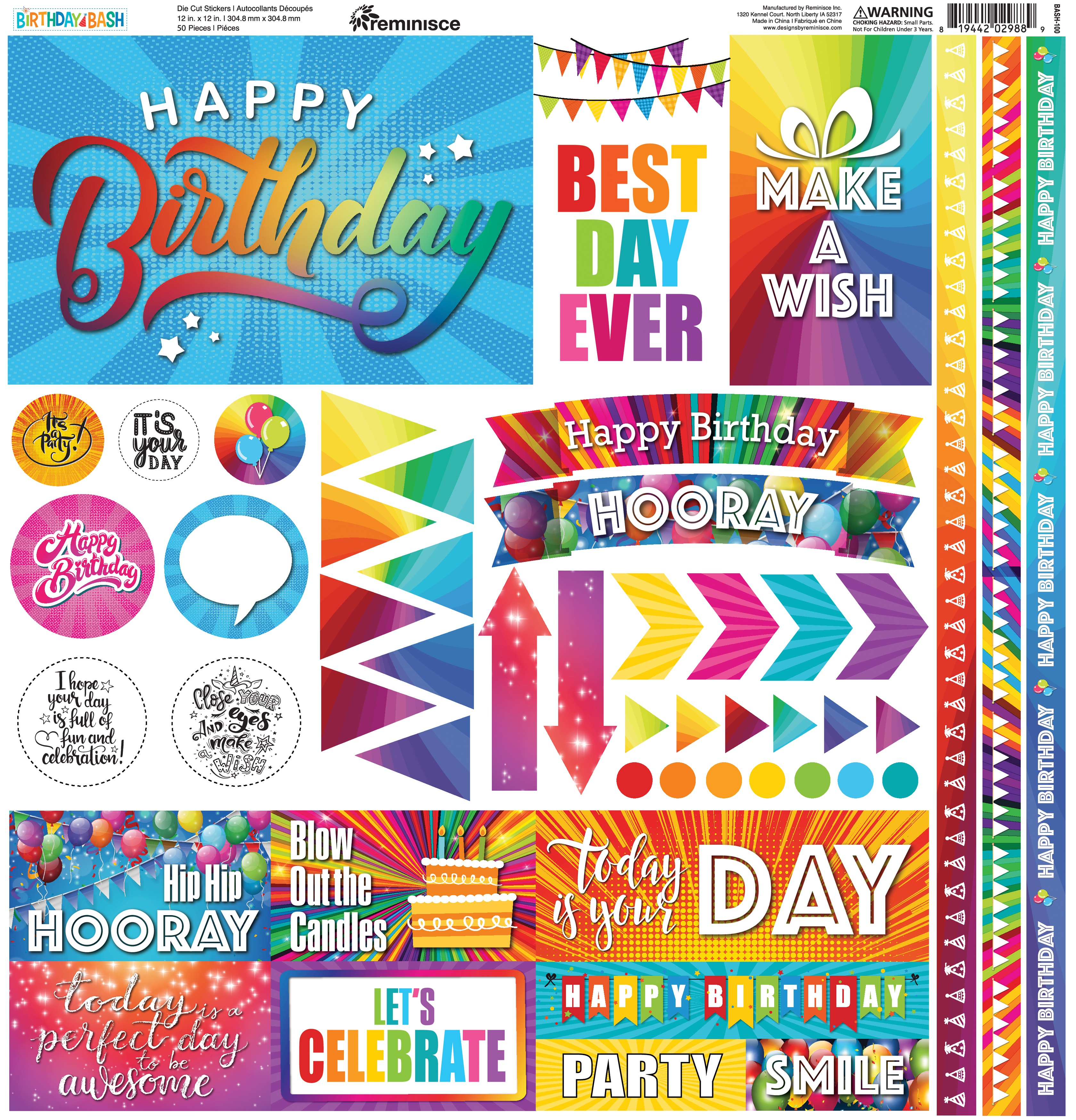 Rem Birthday Bash 12x12 Sticker Sheet