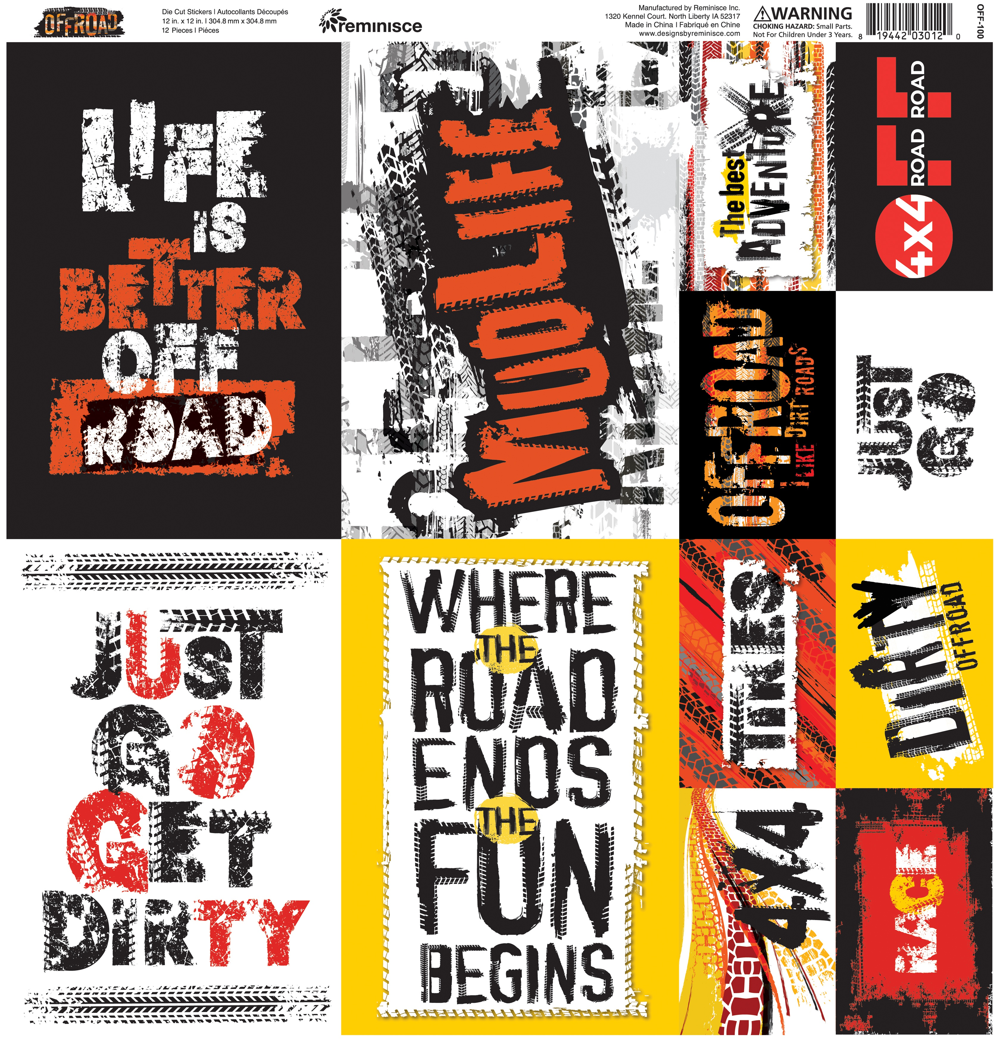 Off-Road Cardstock Stickers 12X12
