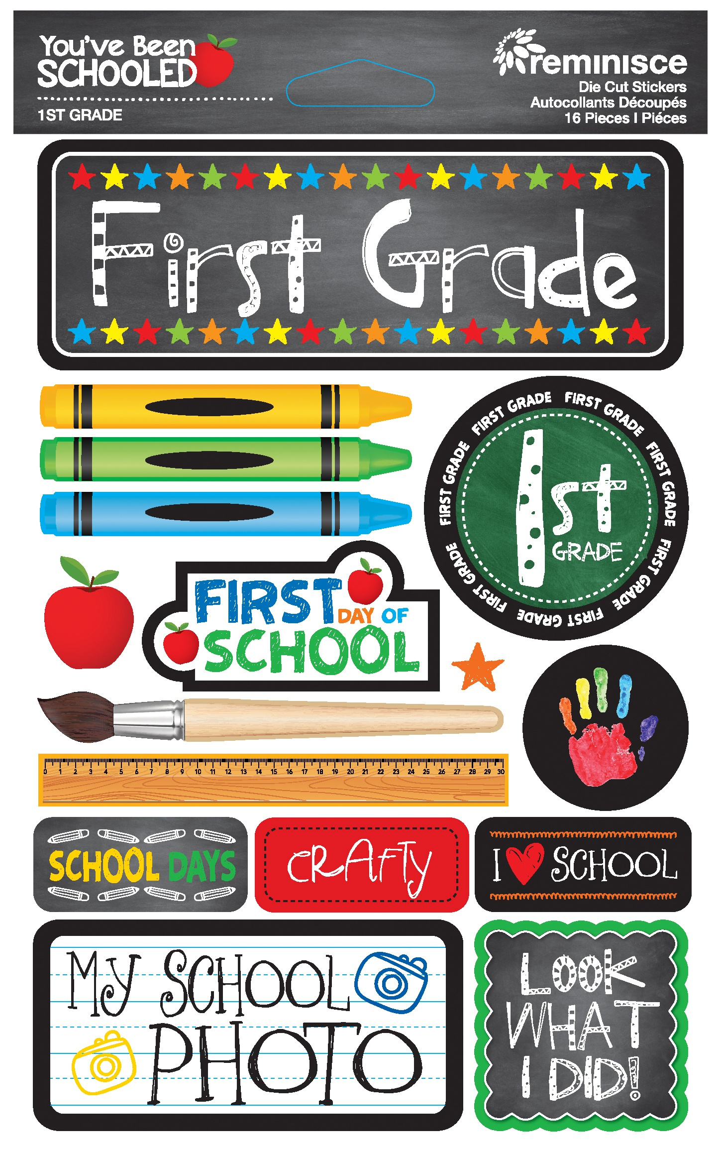 Reminisce You've Been Schooled -  1st Grade 3D Dimensional Stickers