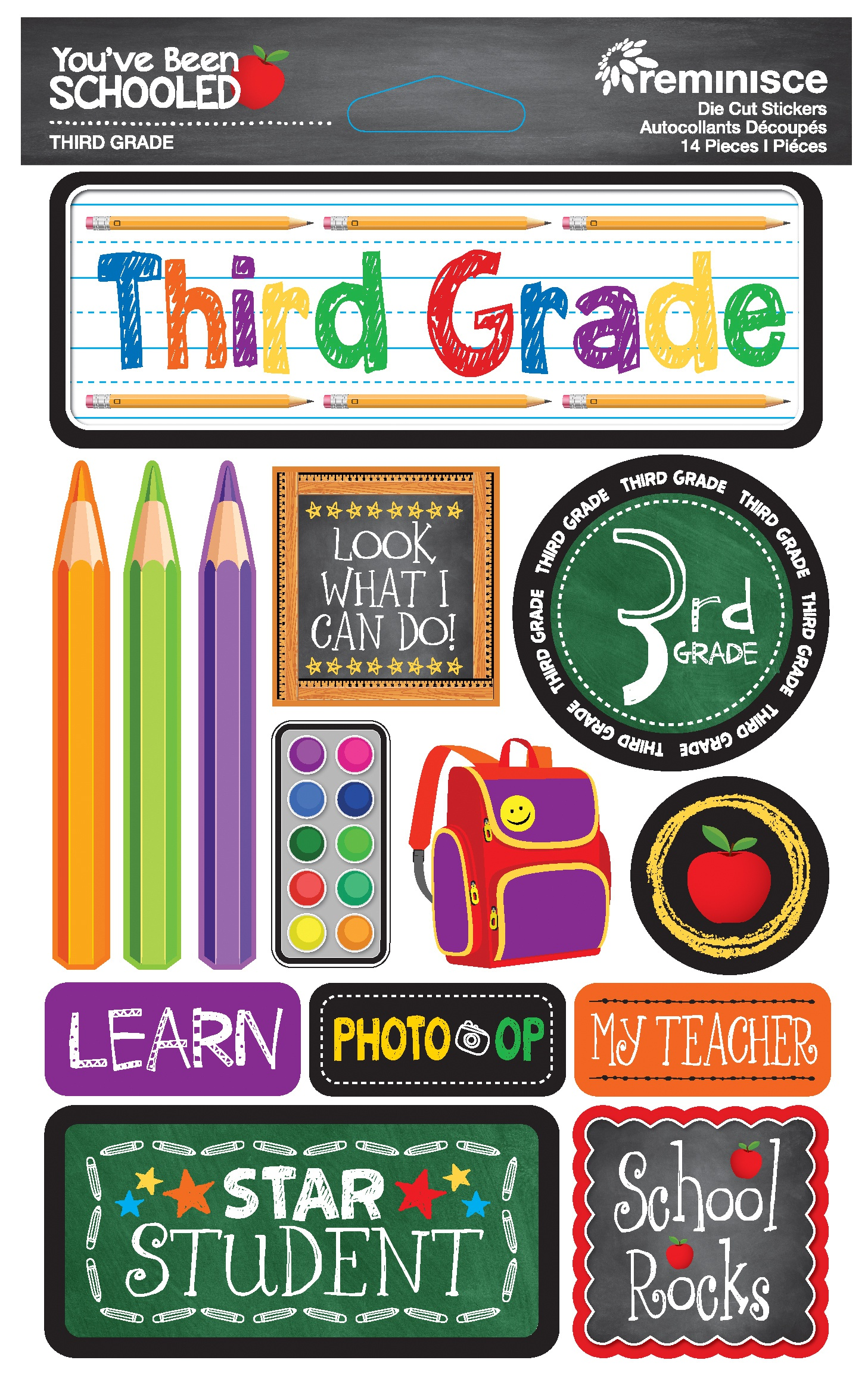 Reminisce You've Been Schooled -  3rd Grade 3D Dimensional Stickers