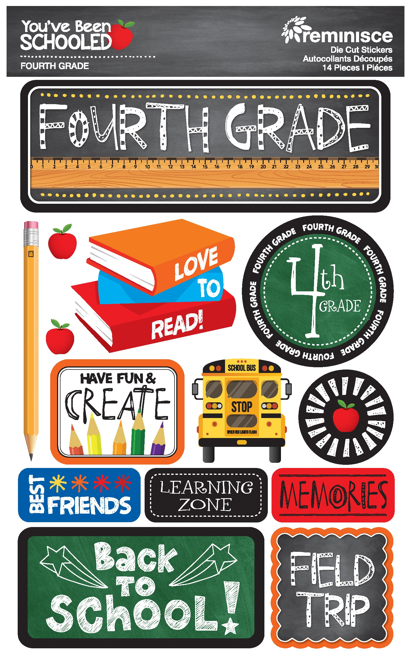 Reminisce You've Been Schooled -  4th Grade 3D Dimensional Stickers