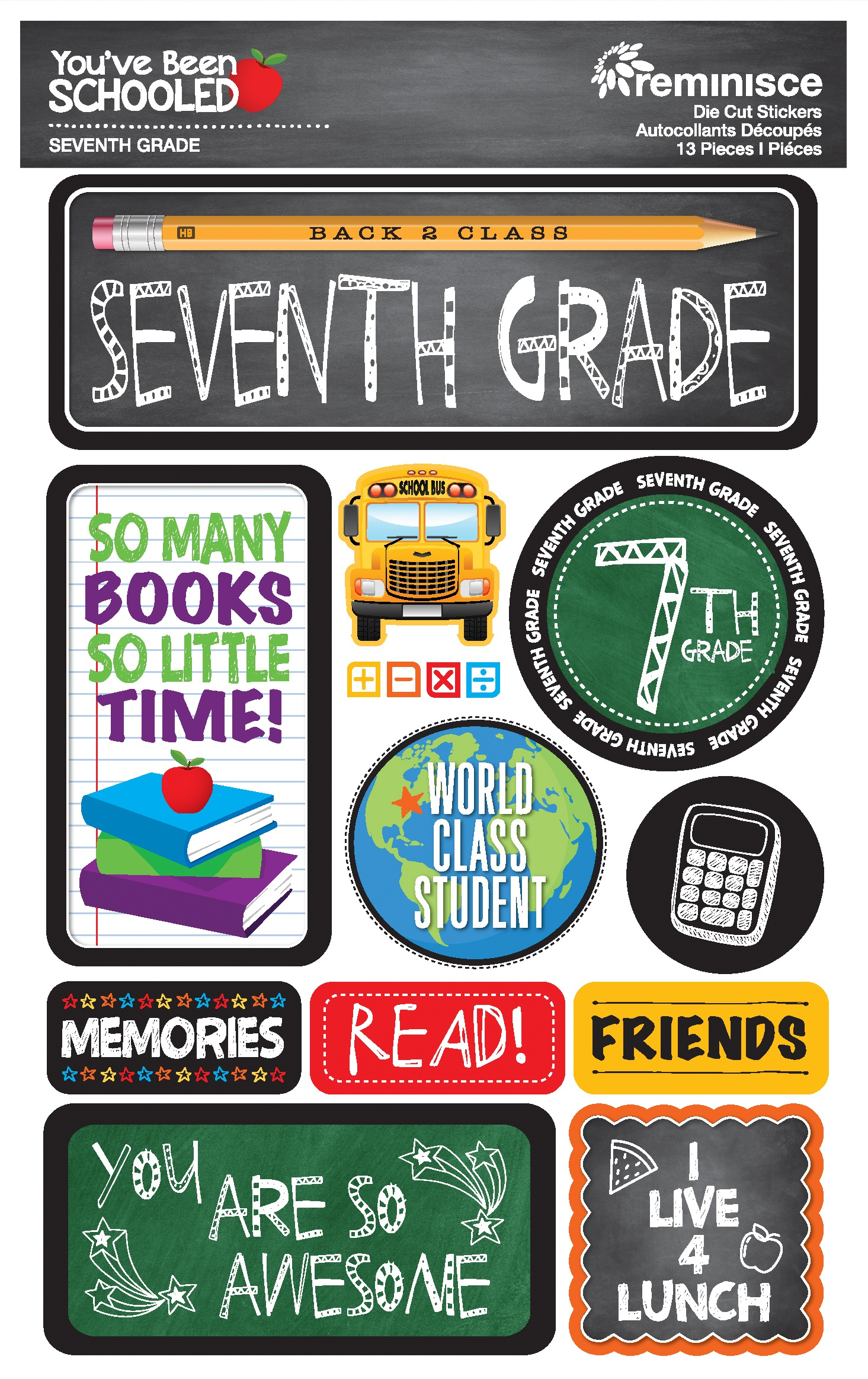 Reminisce You've Been Schooled -  7th Grade 3D Dimensional Stickers