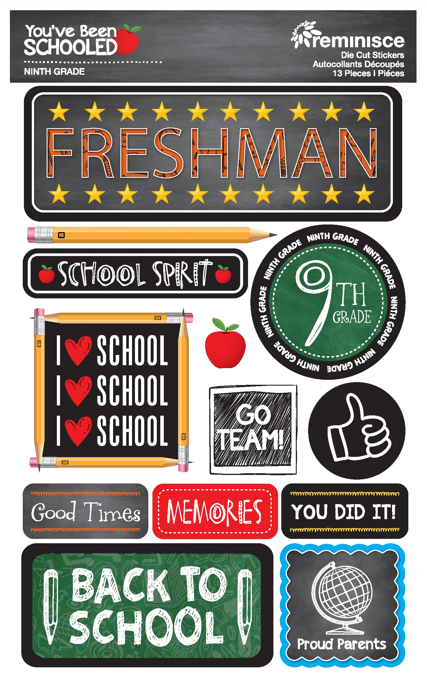 Reminisce You've Been Schooled -  9th Grade / Freshman 3D Dimensional Stickers