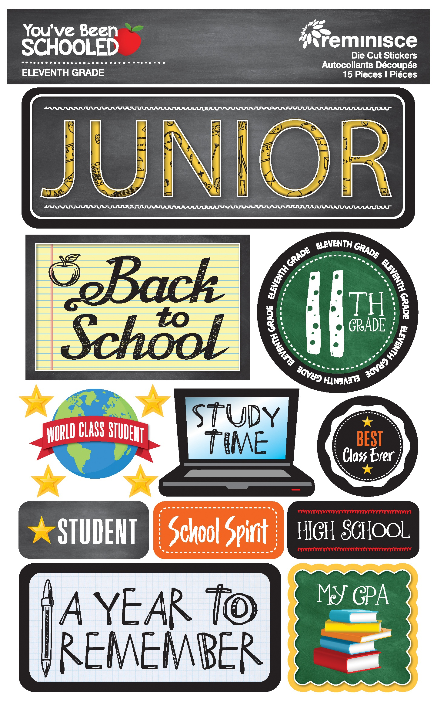 Reminisce You've Been Schooled - 11th Grade / Junior 3D Dimensional Stickers