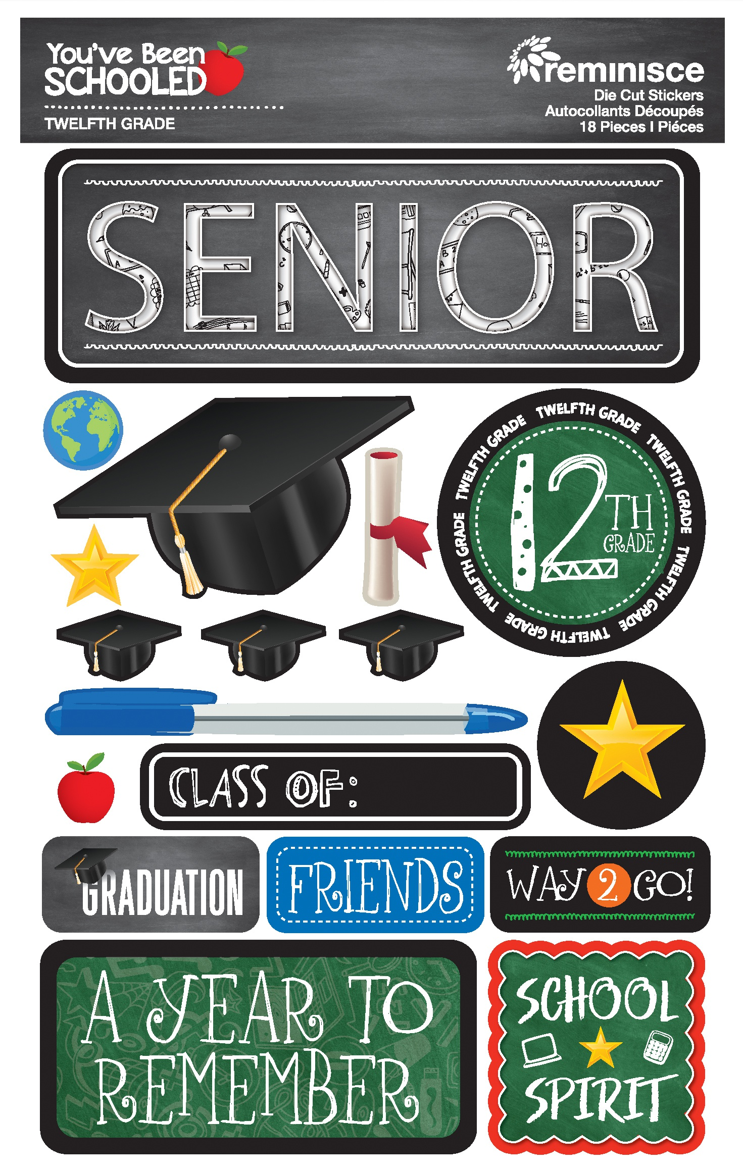 Reminisce You've Been Schooled - 12th Grade / Senior 3D Dimensional Stickers
