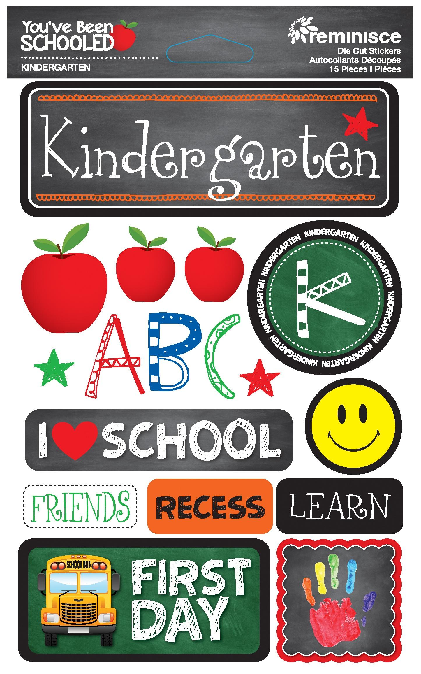 Reminisce You've Been Schooled - Kindergarten 3D Dimensional Stickers