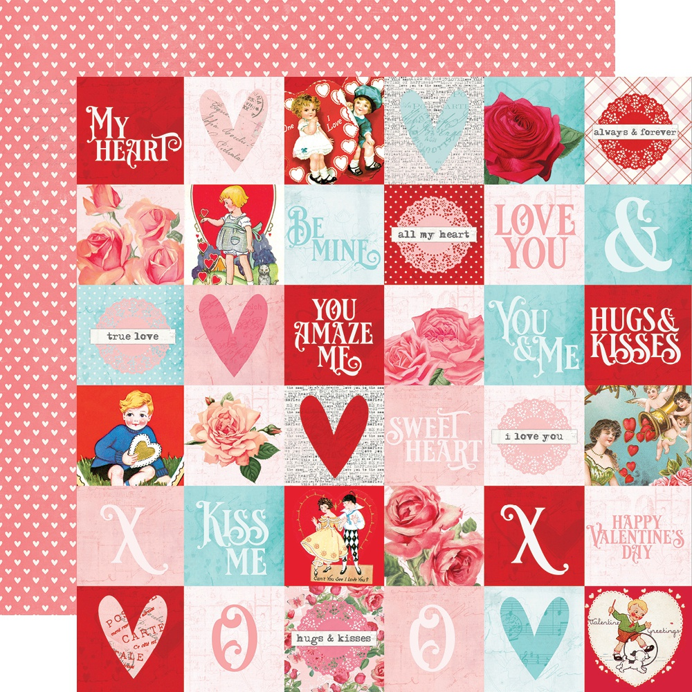Simple Vintage My Valentine Double-Sided Cardstock 12X12-2X2 Elements
