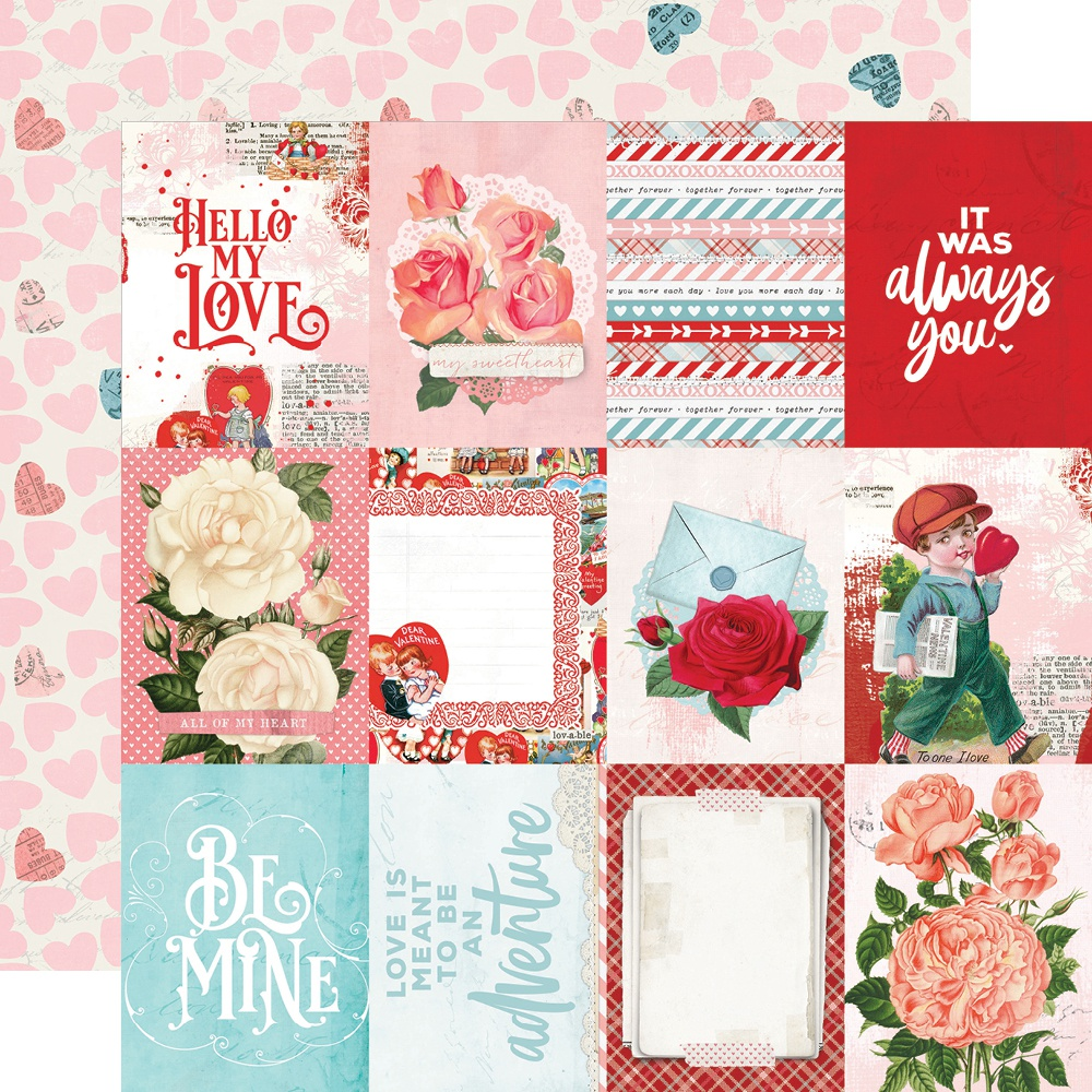 Simple Vintage My Valentine Double-Sided Cardstock 12x12 -  3x4 Elements