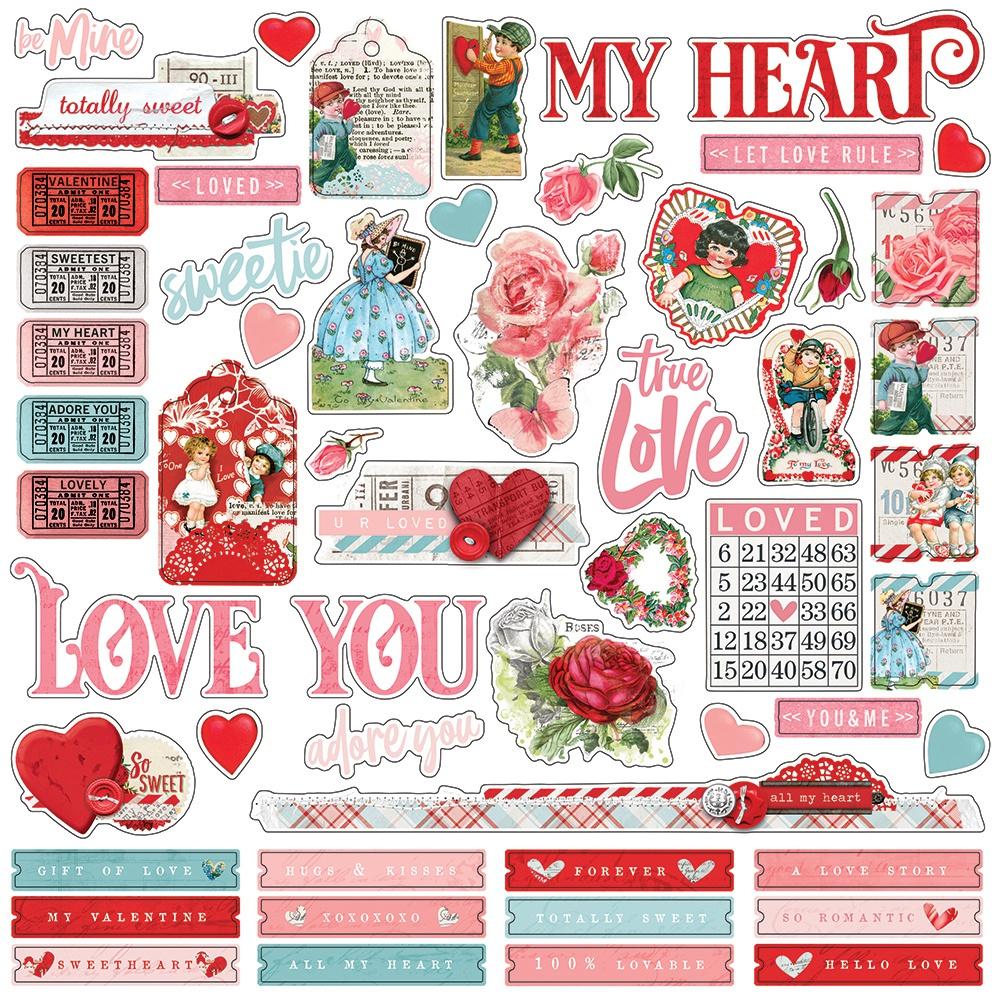 Simple Vintage My Valentine Cardstock Stickers 12X12-Combo