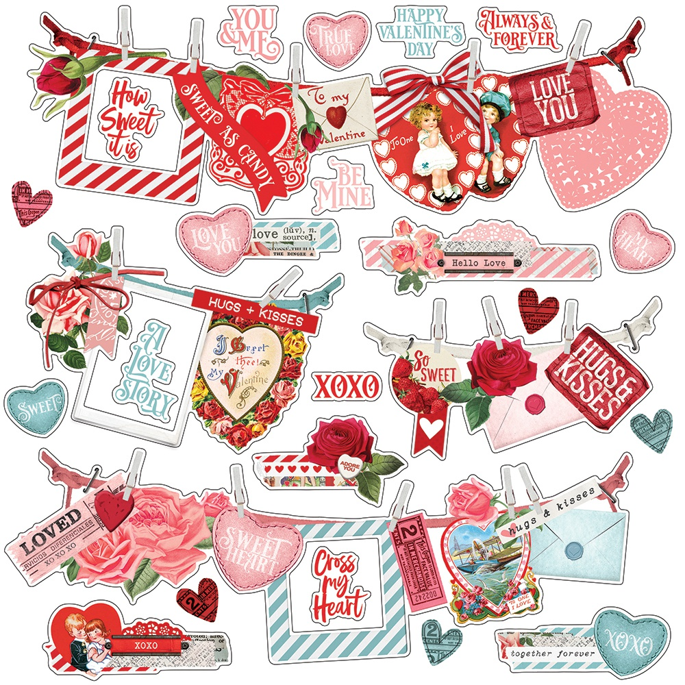 Simple Vintage My Valentine Cardstock Stickers 12X12-Banners