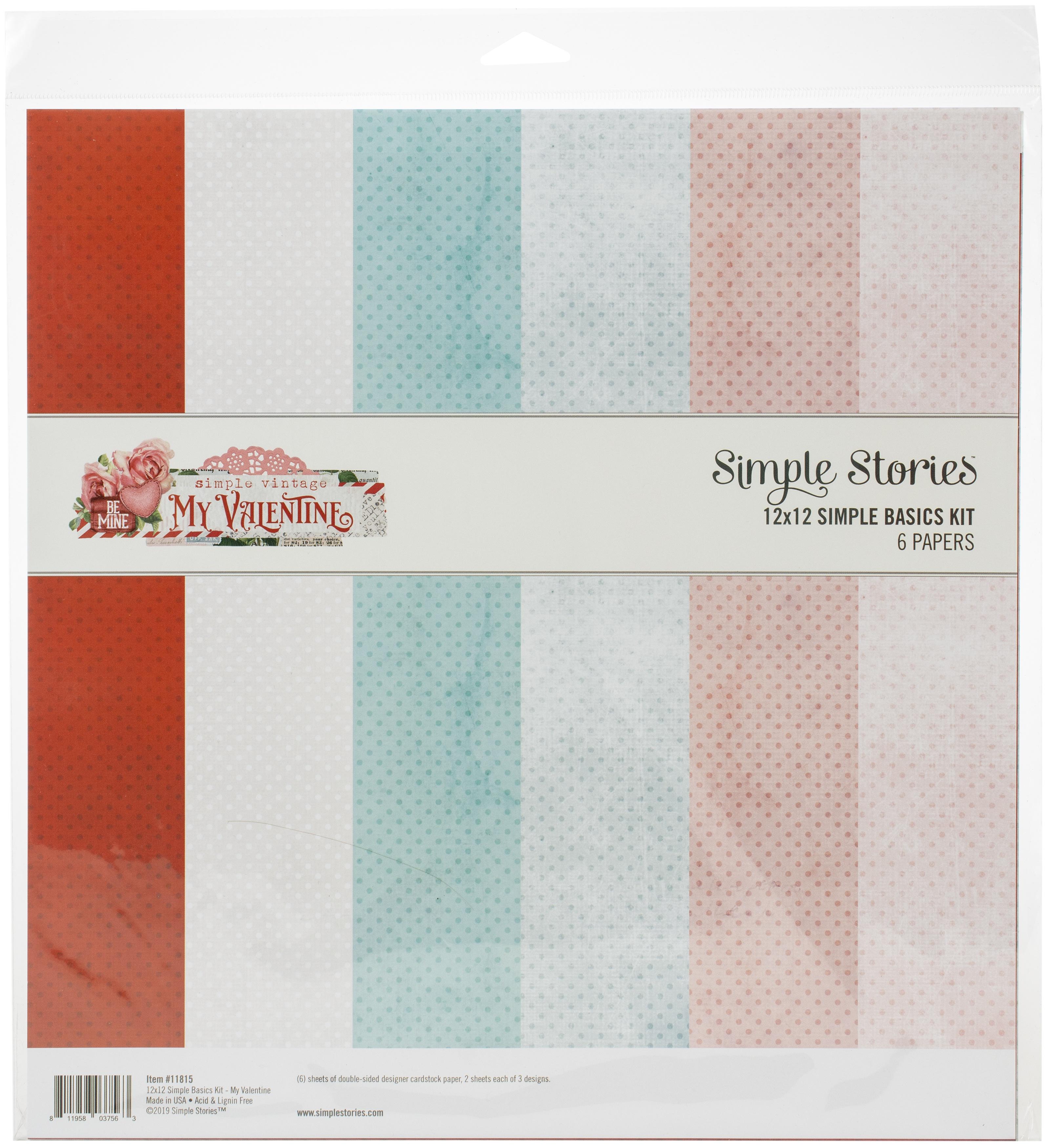 Simple Stories Basics Double-Sided Paper Pack 12X12 6/Pkg-Simple Vintage My Va...