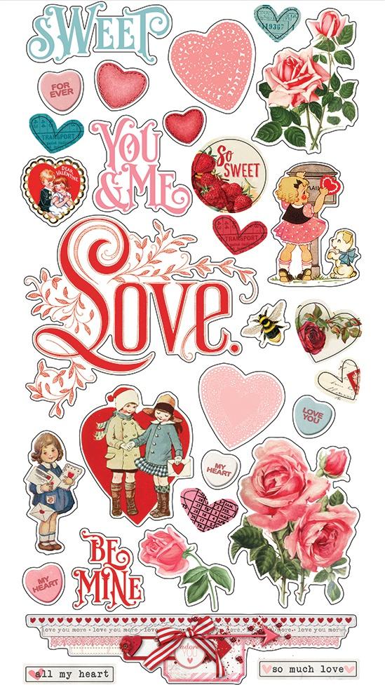 Simple Vintage My Valentine Chipboard Stickers 6X12-
