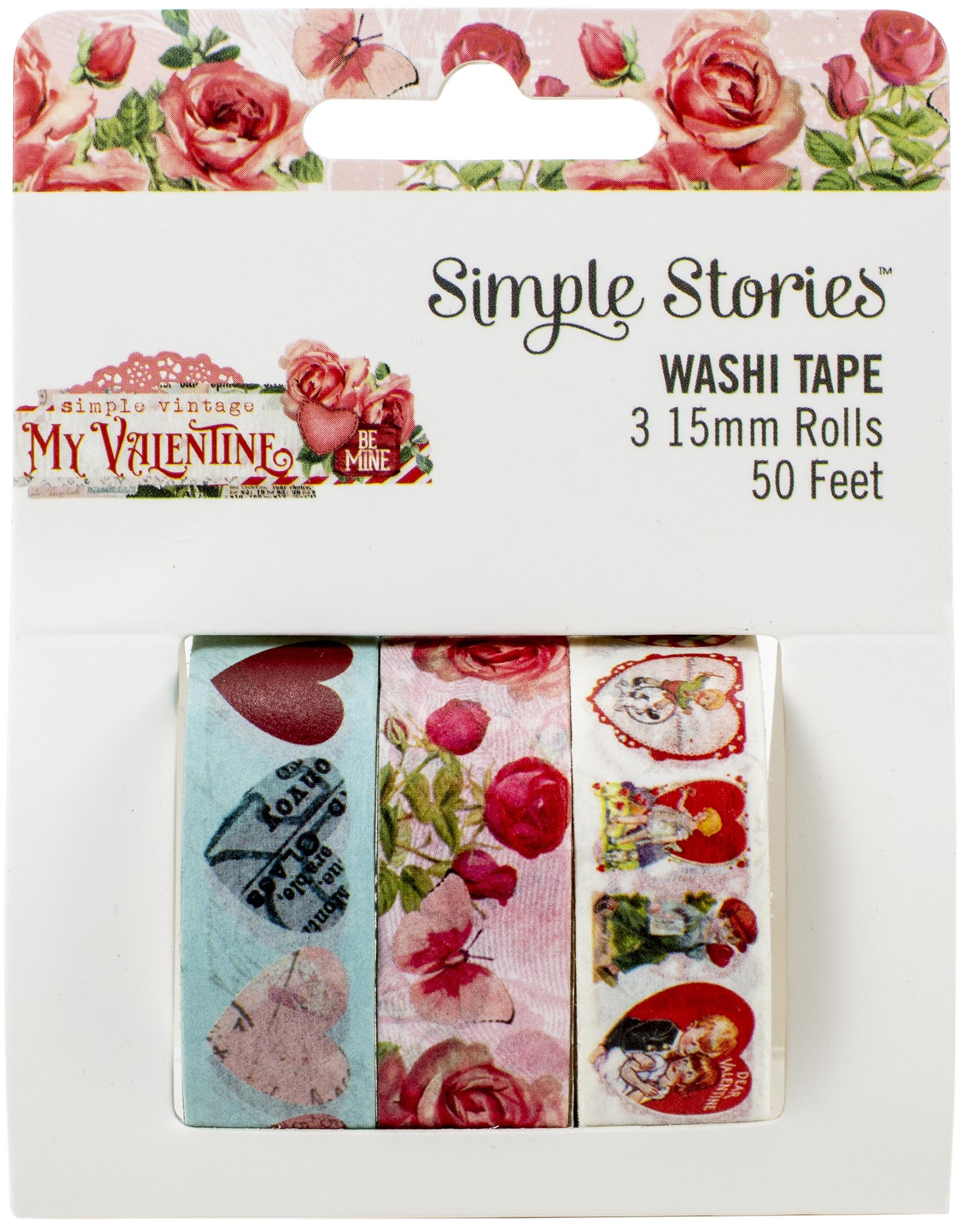 Simple Stories Simple Vintage My Valentine Washi Tape 3/Pkg-