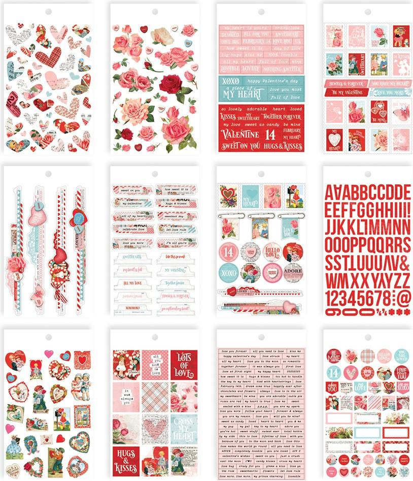 Simple Vintage My Valentine Mini Sticker Tablet 467/Pkg-