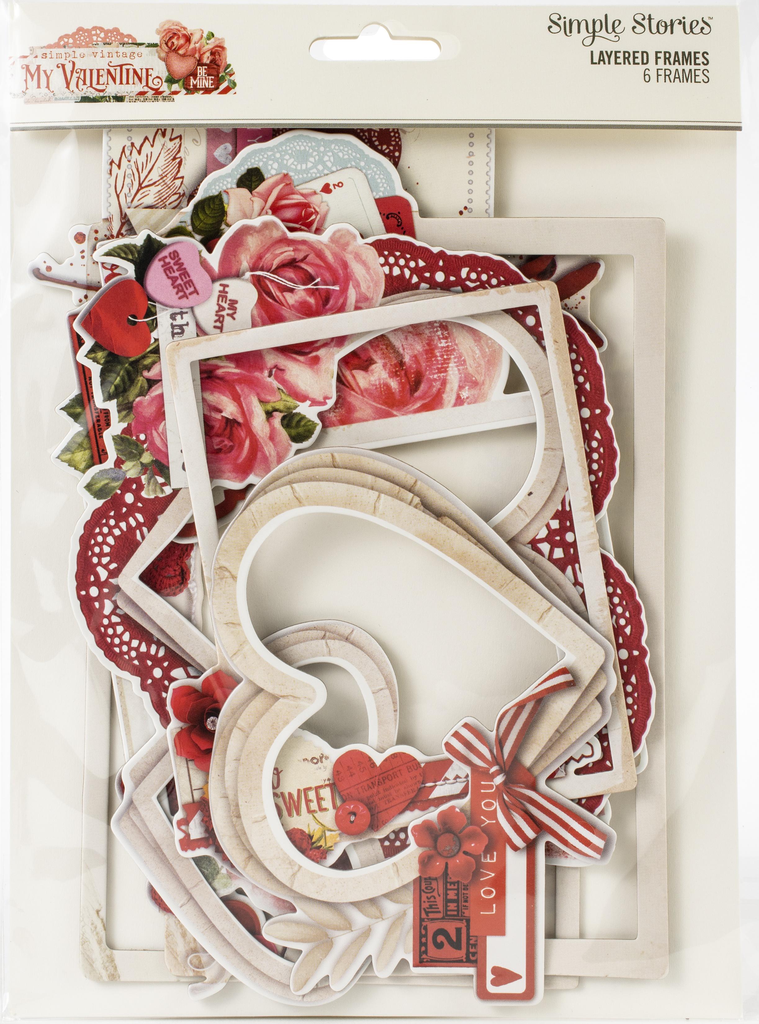 Simple Vintage My Valentine Layered Frames Die-Cuts 6/Pkg