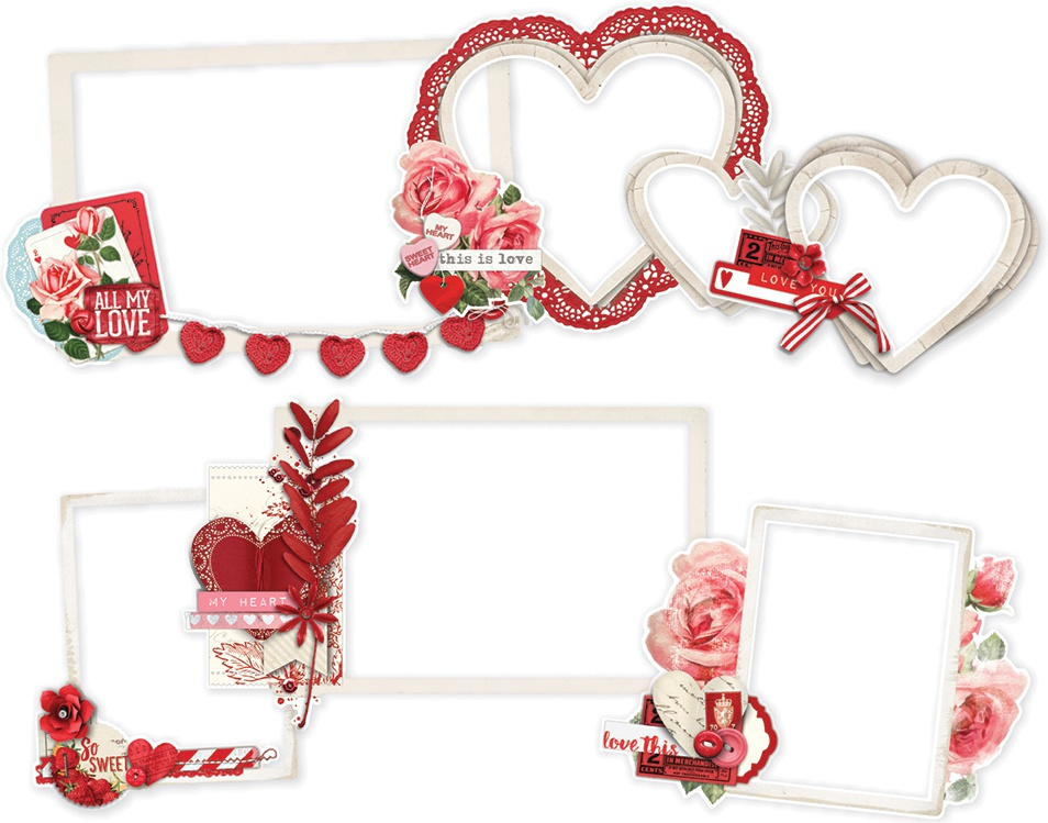 Simple Vintage My Valentine Layered Frames Die-Cuts 6/Pkg-