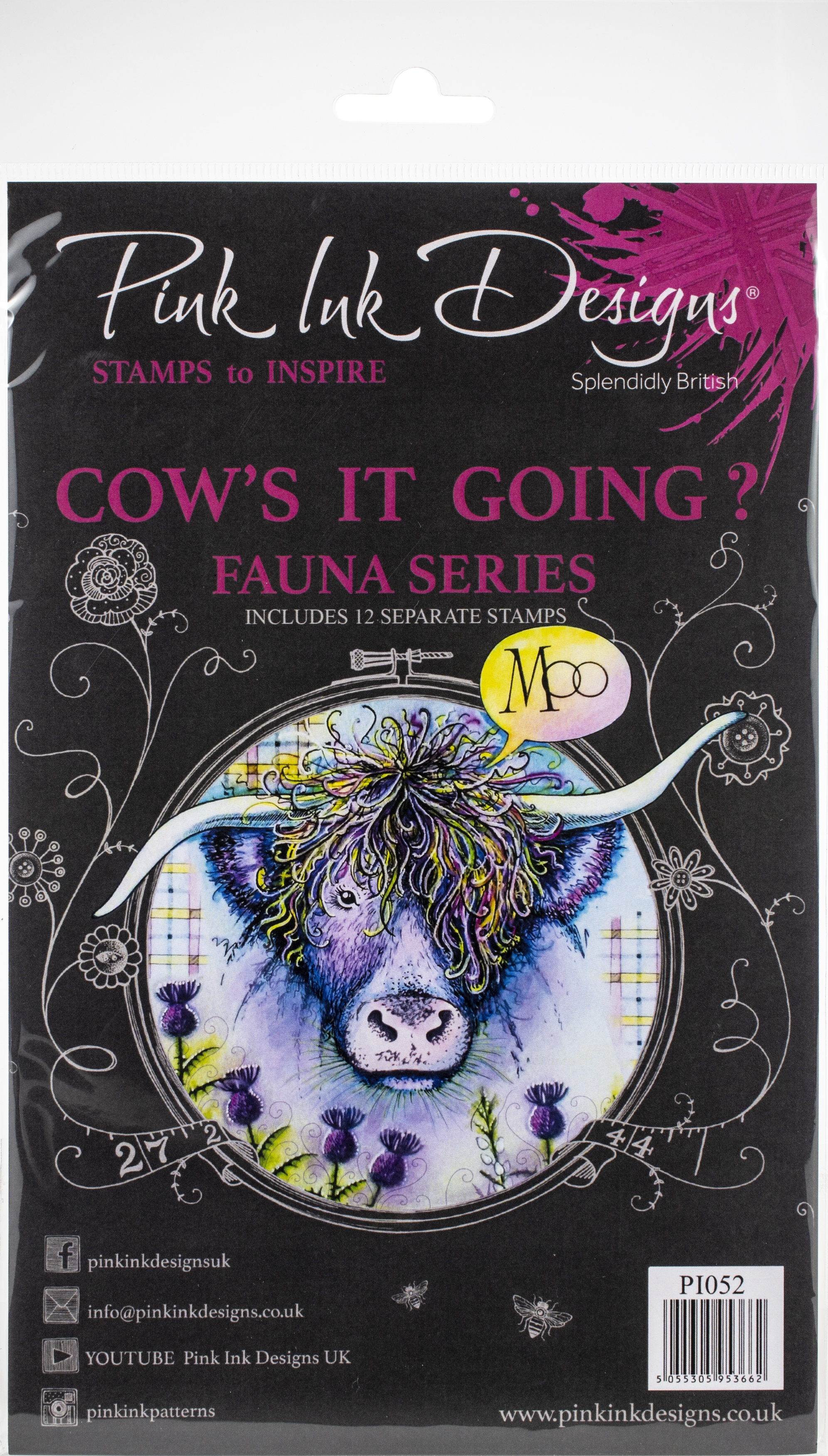 Pink Ink Designs A5 Clear Stamp Set -Cow's It Going