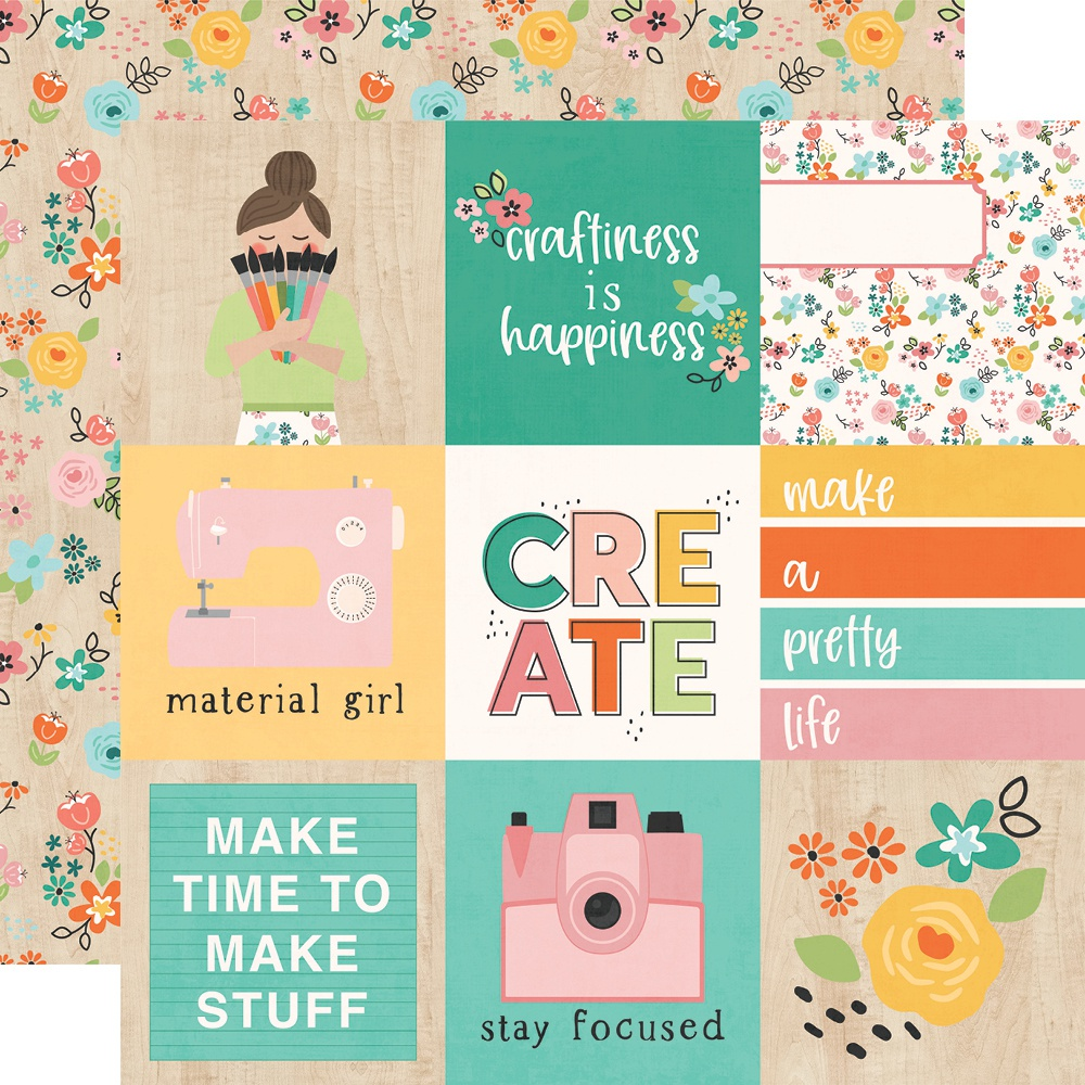 Hey, Crafty Girl Double-Sided Cardstock 12X12-4X4 Elements