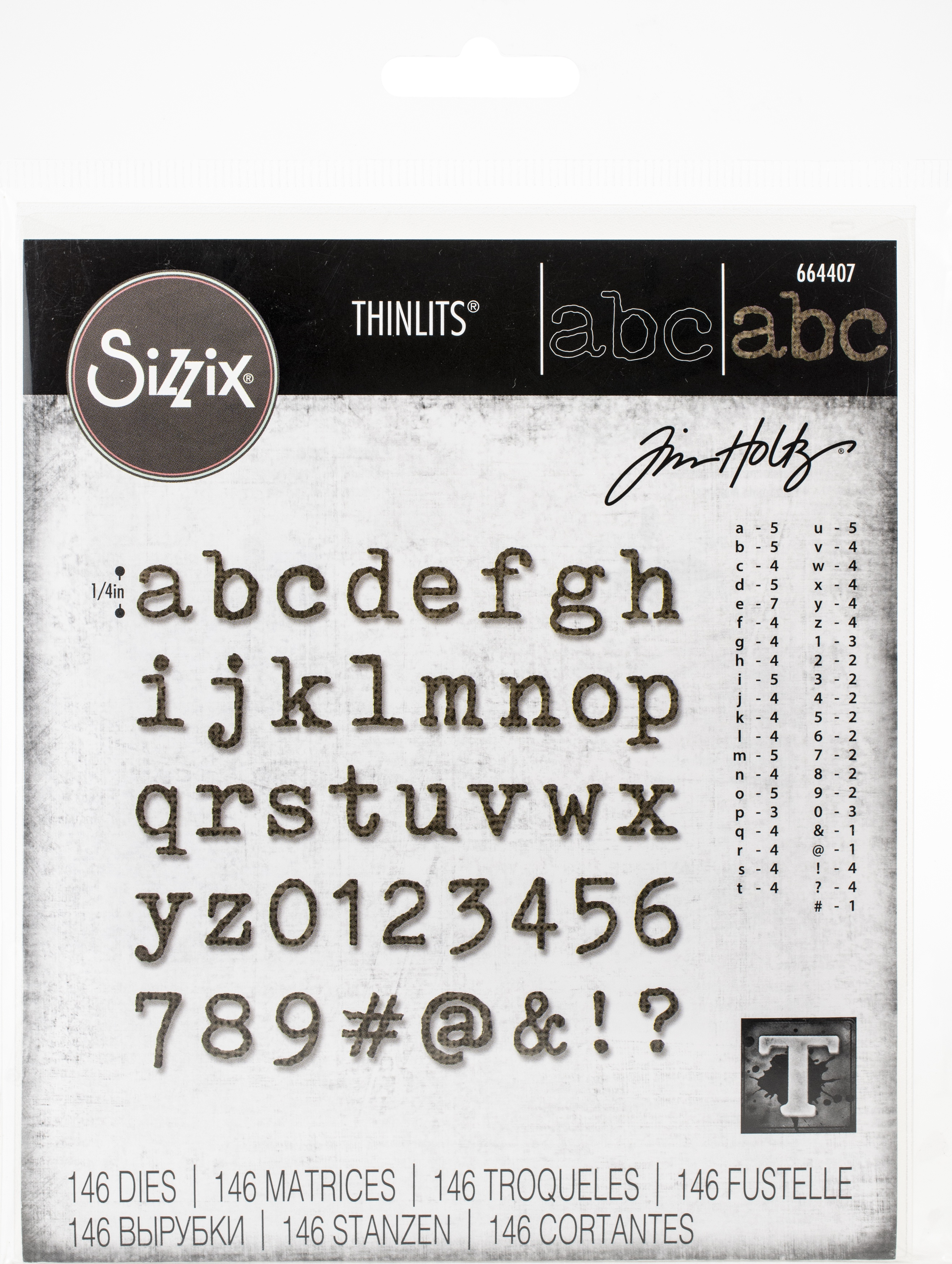 Sizzix Thinlits Dies By Tim Holtz-Alphanumeric Tiny Type Lower
