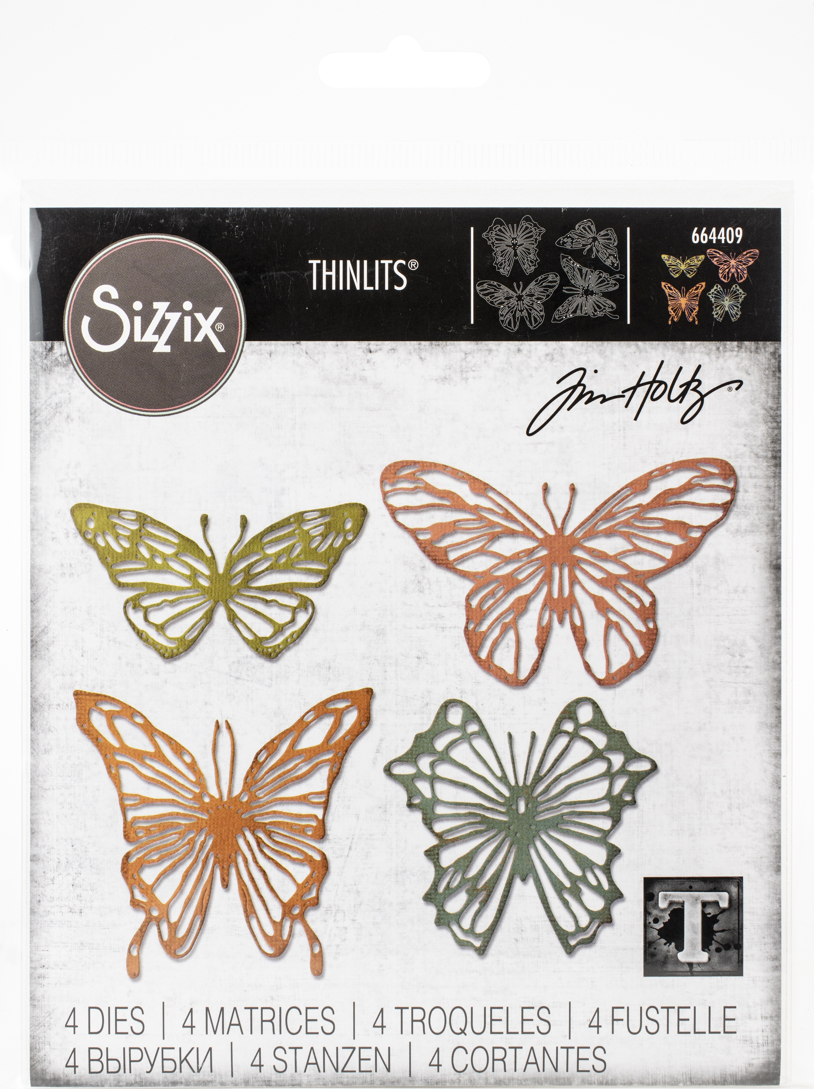 Sizzix Thinlits Dies By Tim Holtz-Scribbly Butterfly
