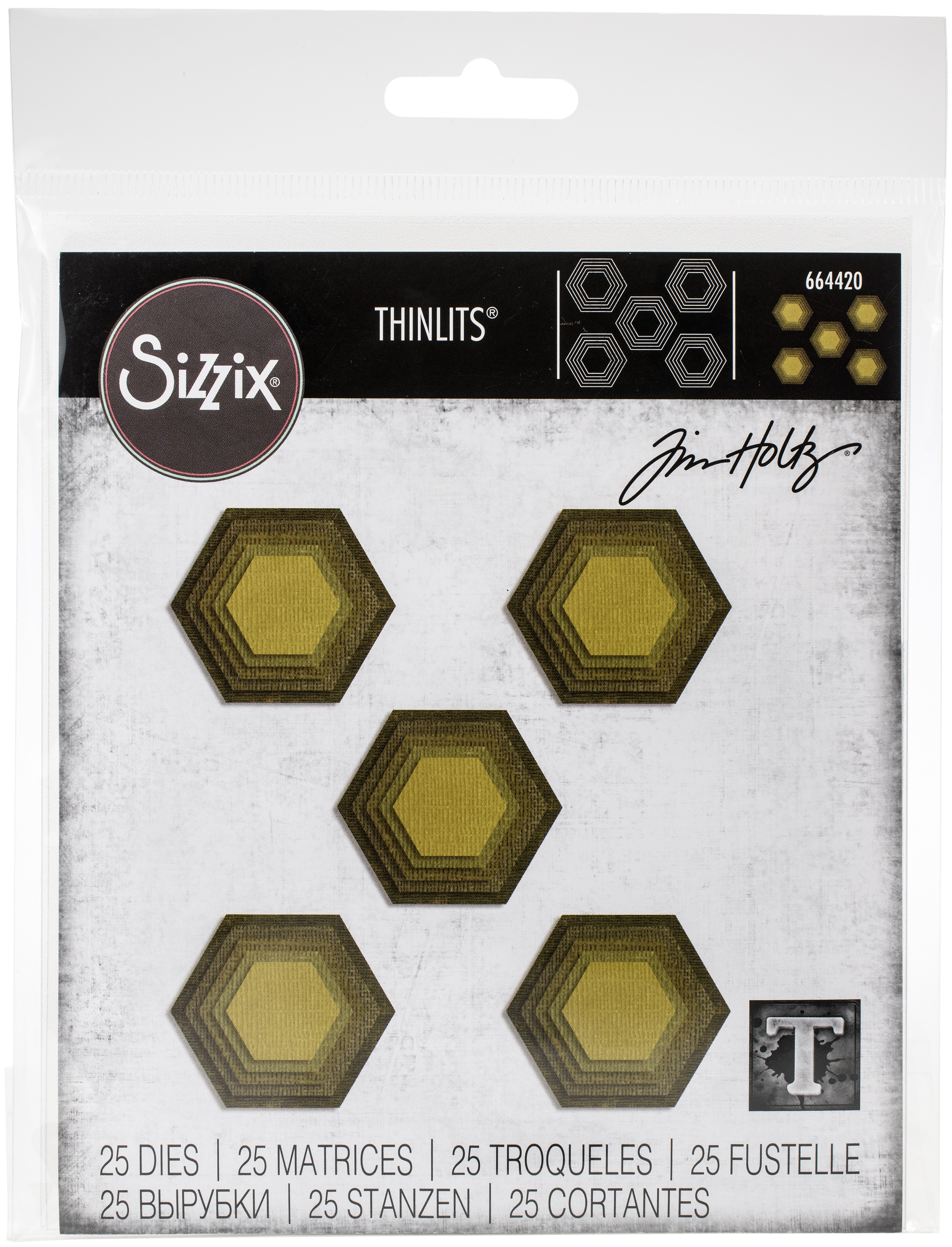 Sizzix Thinlits Dies By Tim Holtz-Stacked Tiles, Hexagons