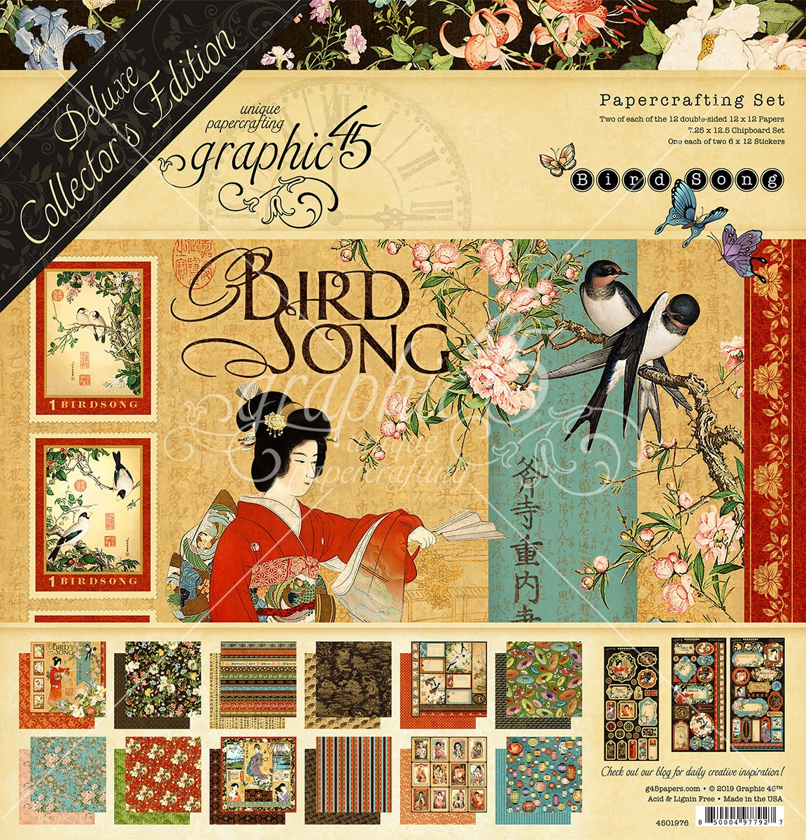 Graphic 45 Deluxe Collector's Edition Pack 12X12-Bird Song
