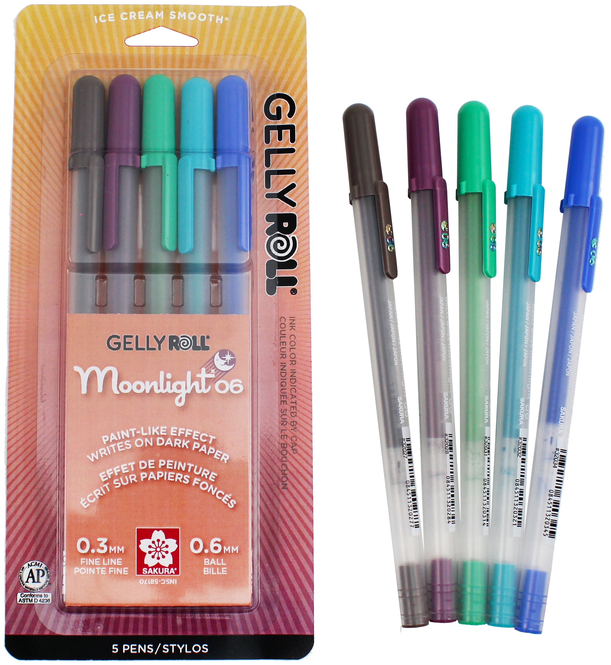 Gelly Roll Moonlight Fine Point Pens 5/Pkg-Lunar